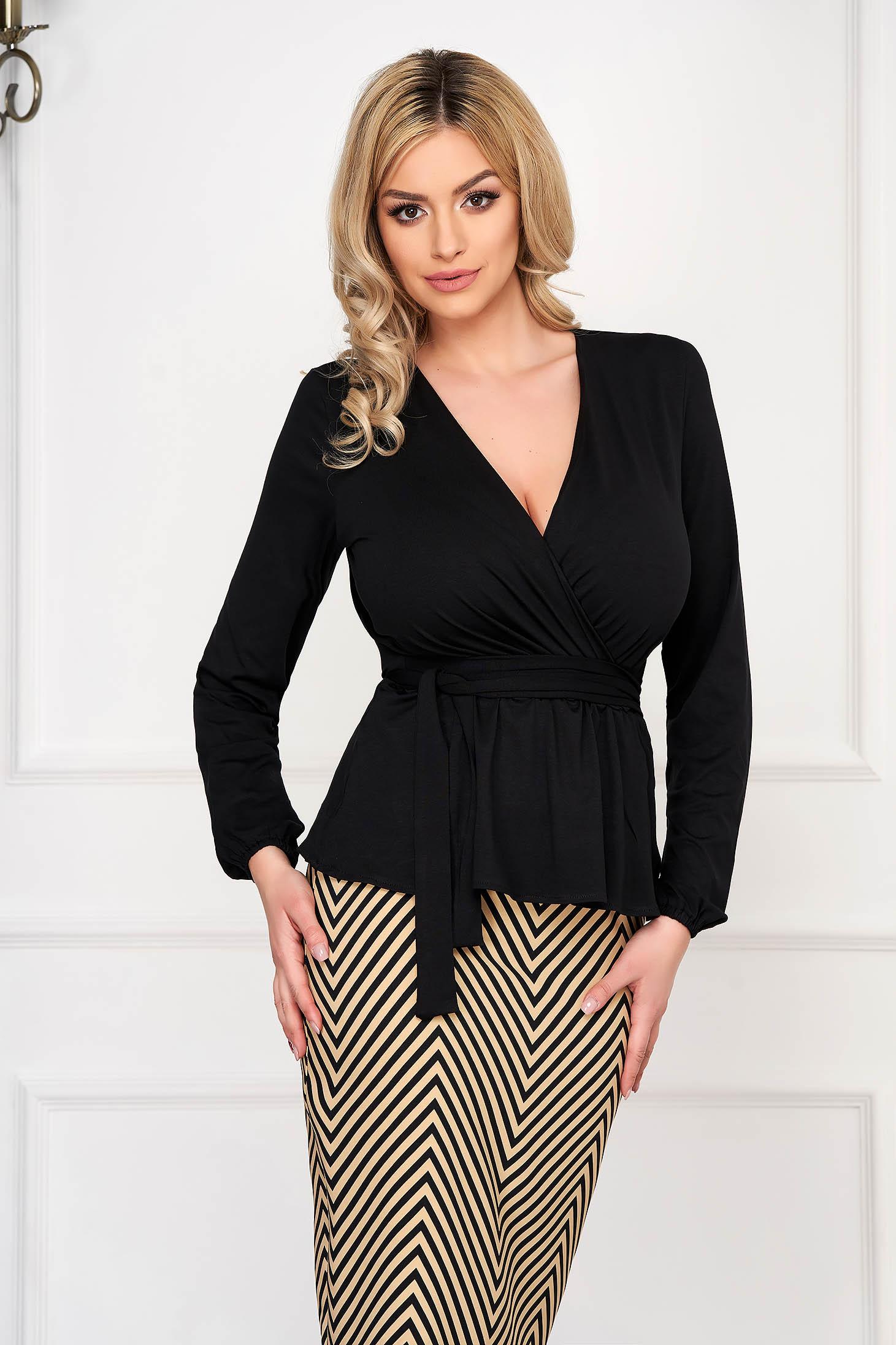 Black StarShinerS elegant women`s blouse short cut jersey long sleeved