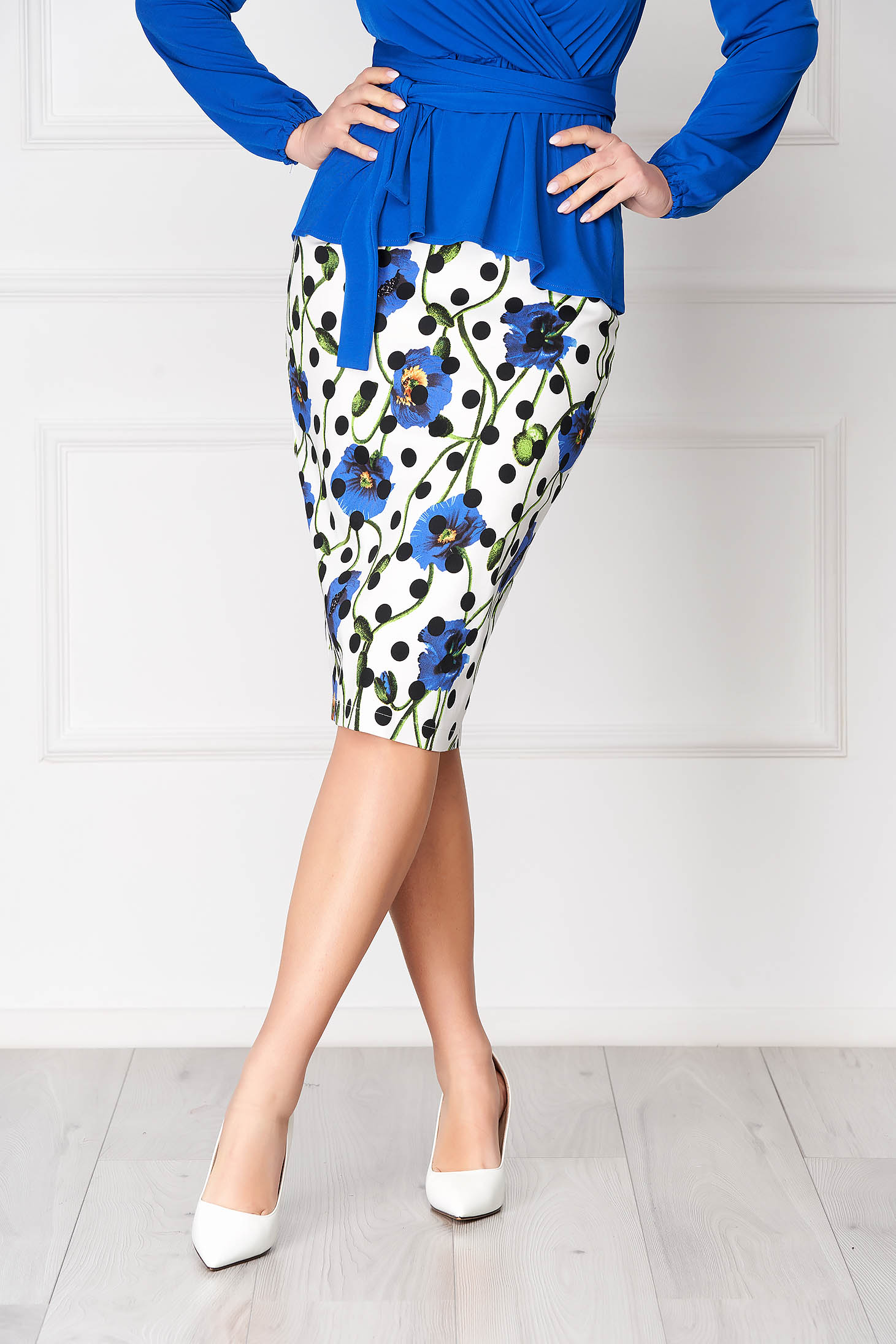 StarShinerS white elegant pencil skirt from elastic fabric with floral print