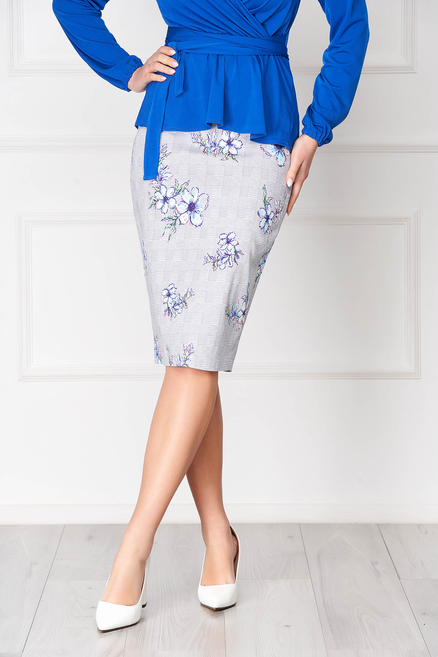 StarShinerS grey elegant pencil skirt from elastic fabric with floral print