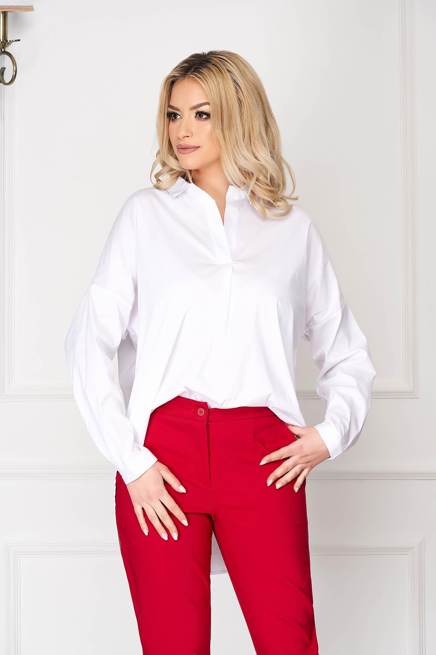 White women`s shirt flared long office long sleeved
