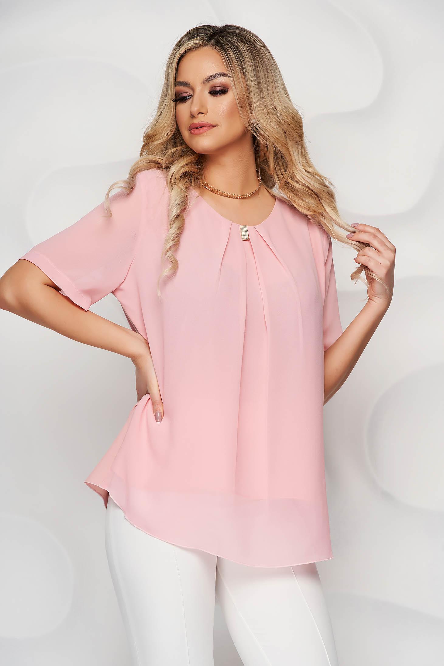 Peach women`s blouse office short cut from veil fabric short sleeves