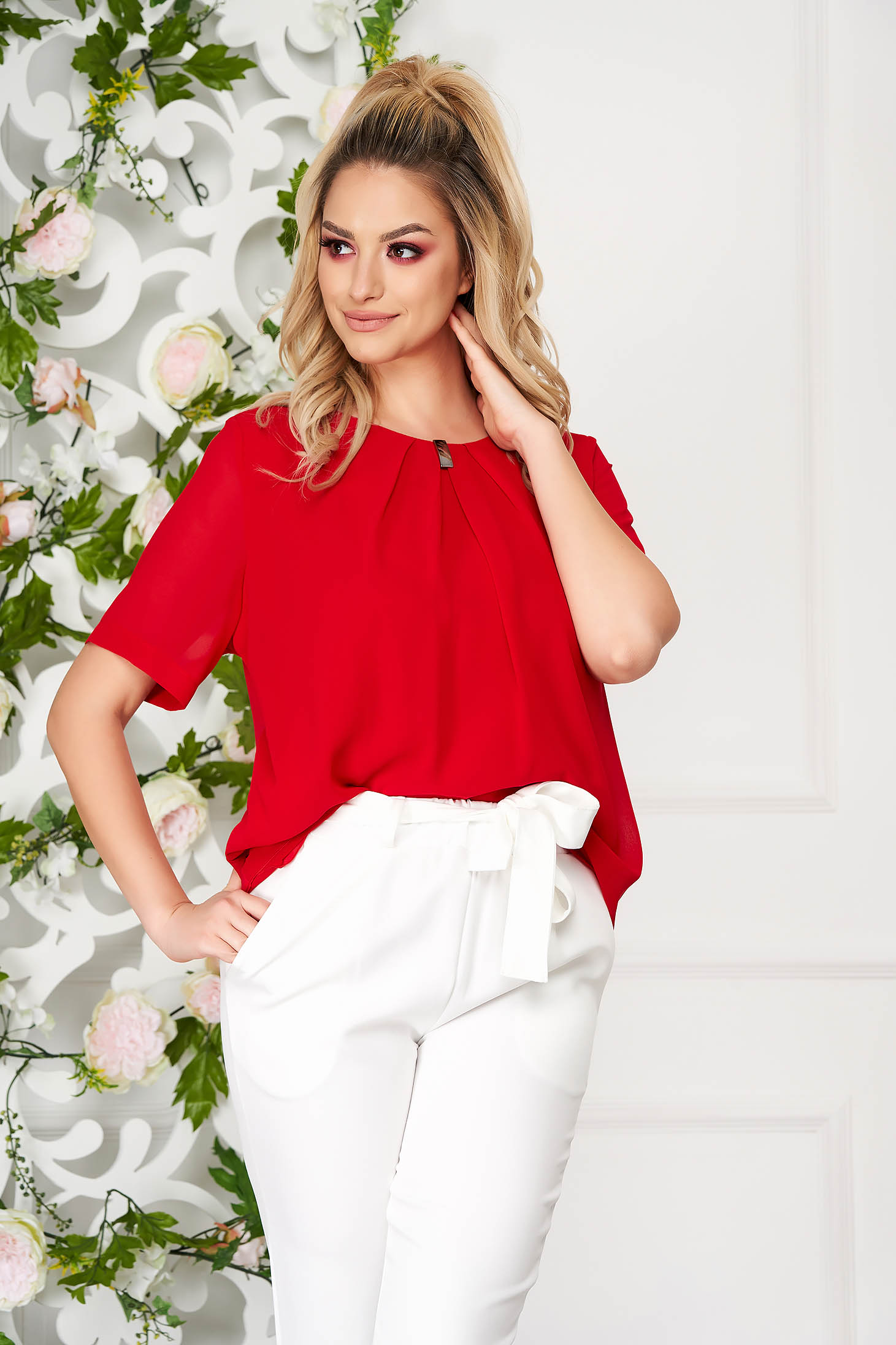 Red women`s blouse office short cut from veil fabric short sleeves