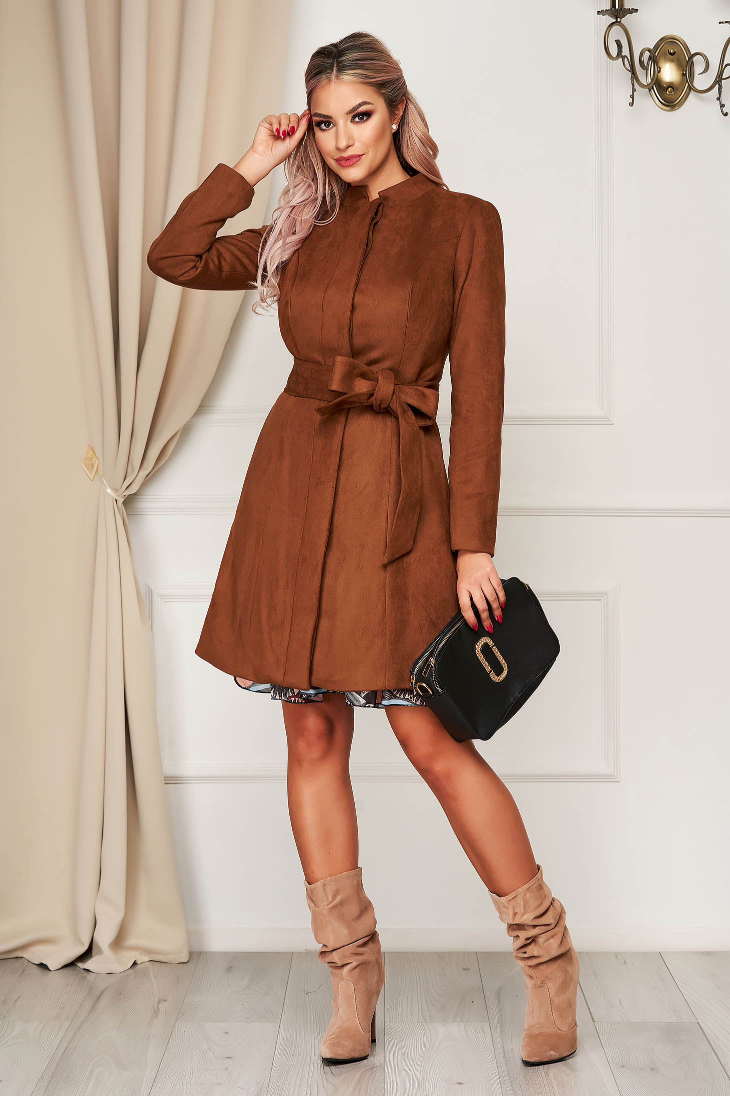 Brown overcoat elegant from velour straight with pockets