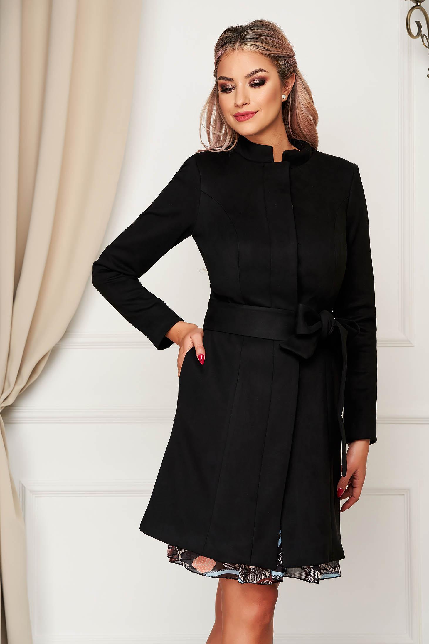 Black overcoat elegant from velour straight with pockets