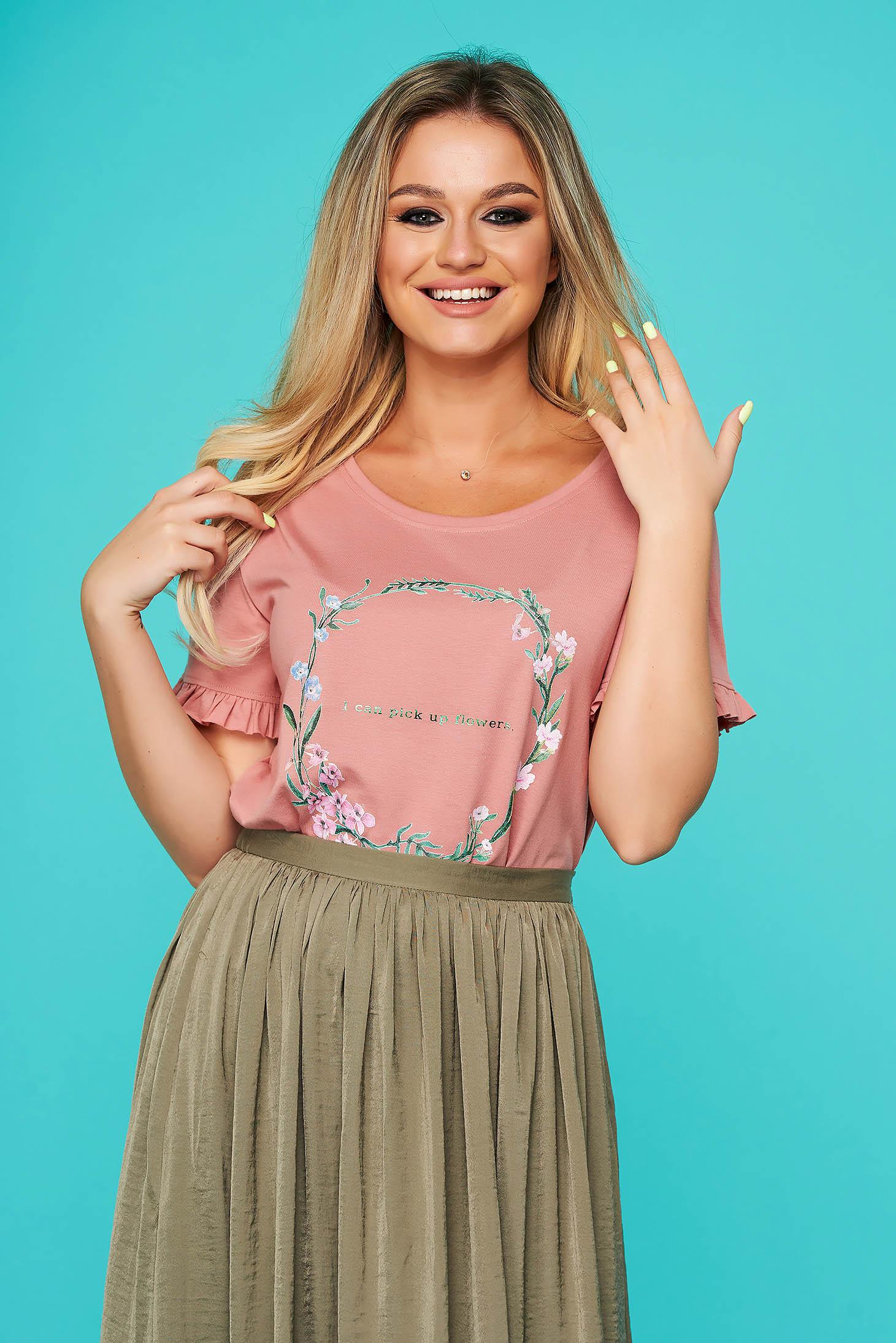 Bluza dama Top Secret roz-inchis casual cu croi larg si volanase la maneca