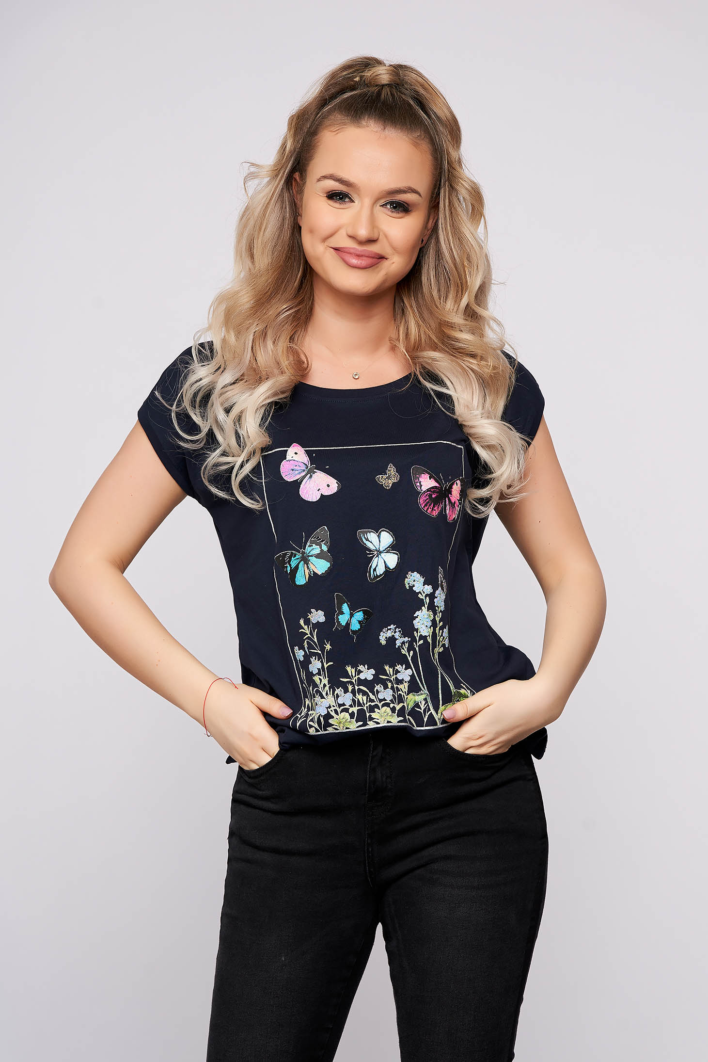 Darkblue casual tented short cut t-shirt with floral prints short sleeves