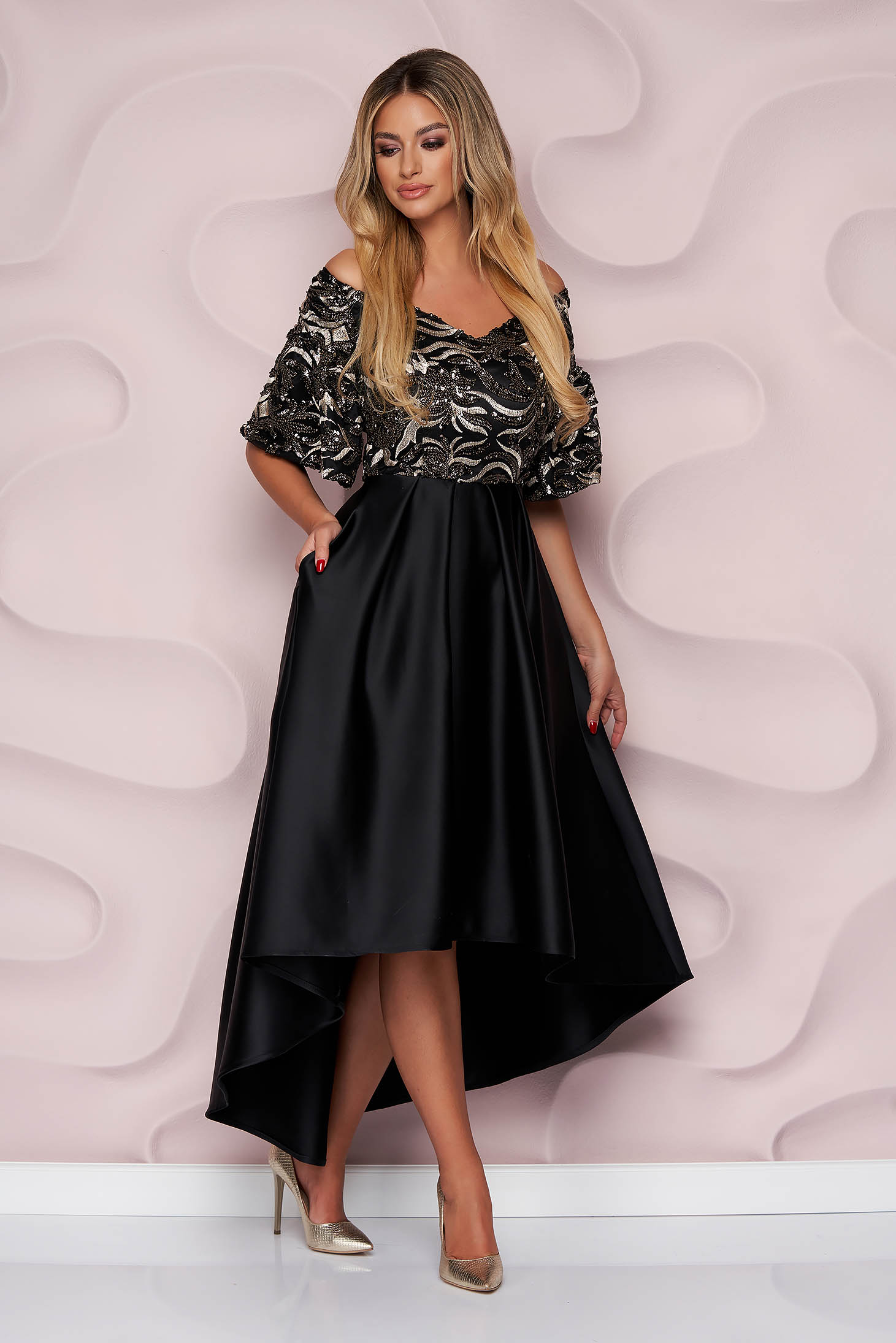 Occasional asymmetrical cloche from satin with sequins with bell sleeve