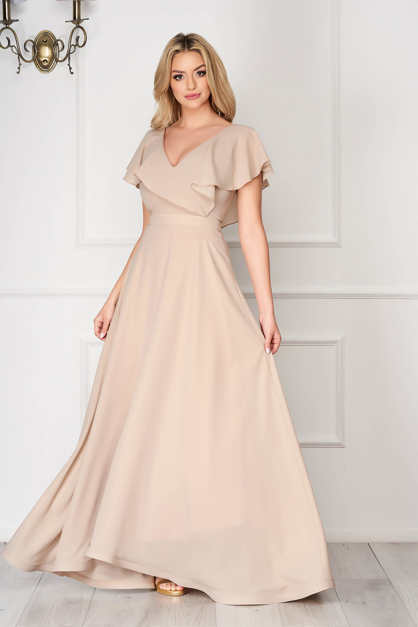 Dress StarShinerS cream occasional flaring cut frilly trim around cleavage line from veil fabric
