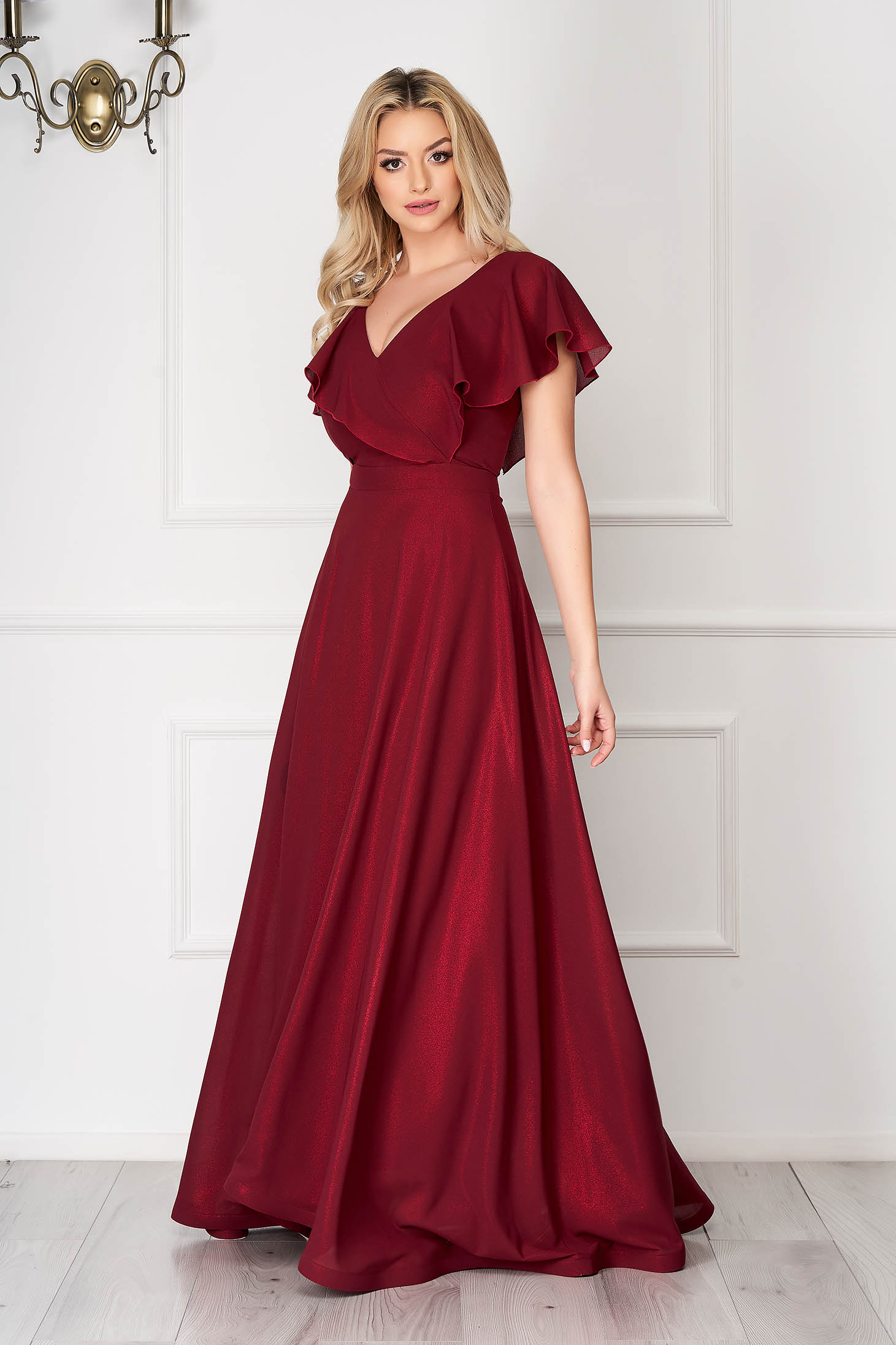 Dress StarShinerS burgundy occasional flaring cut frilly trim around cleavage line