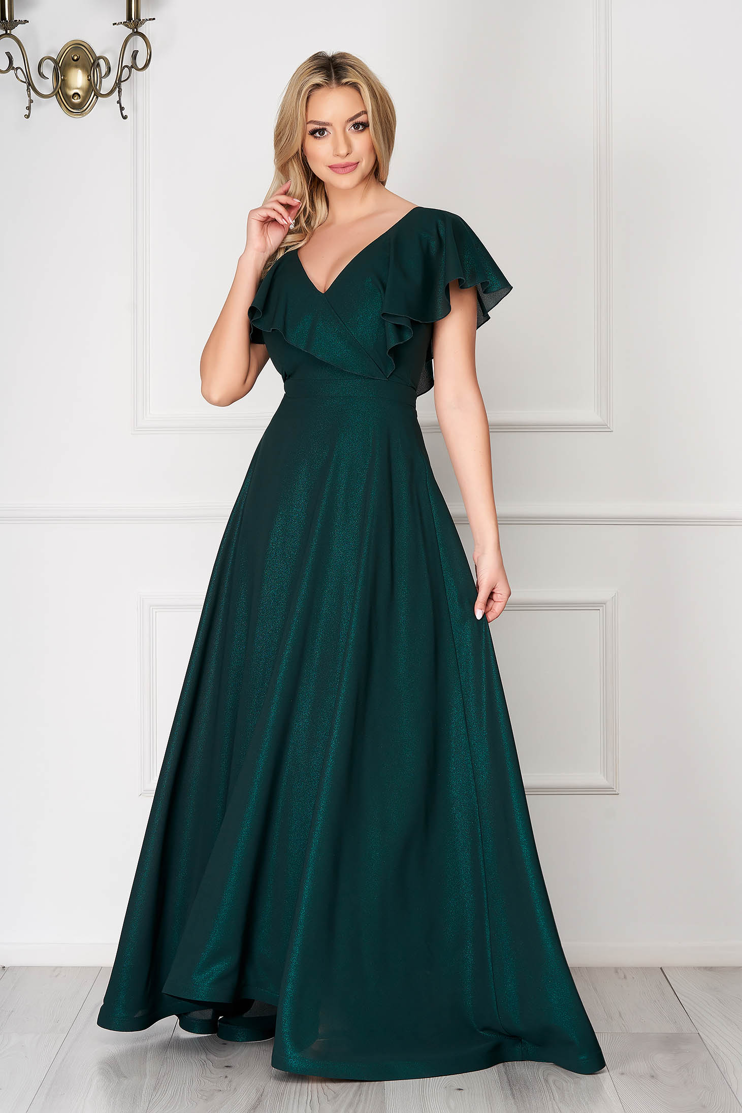 Dress StarShinerS green occasional flaring cut frilly trim around cleavage line from veil fabric