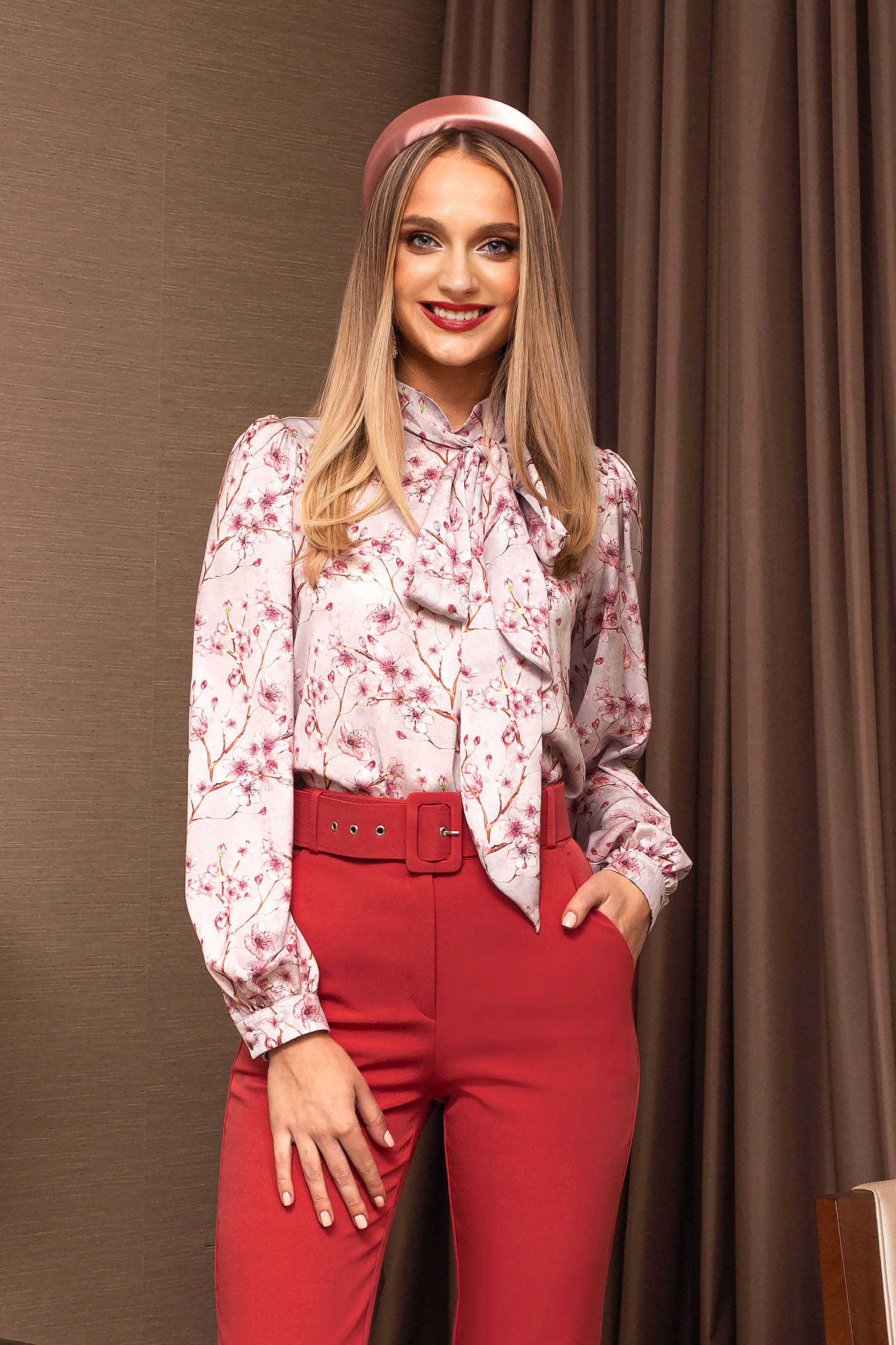 Lightpink women`s blouse bow accessory with floral prints office from veil fabric tented short cut