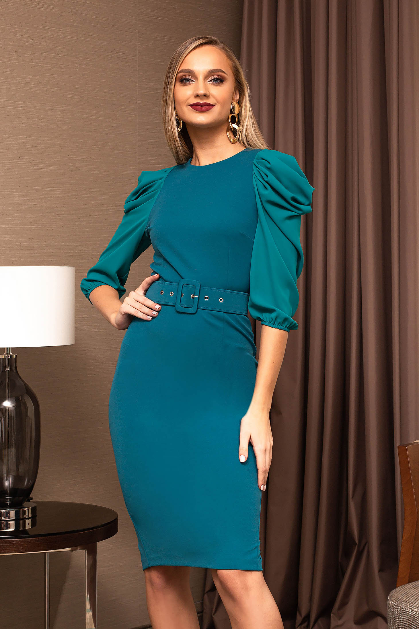 Office dress turquoise pencil midi accessorized with belt