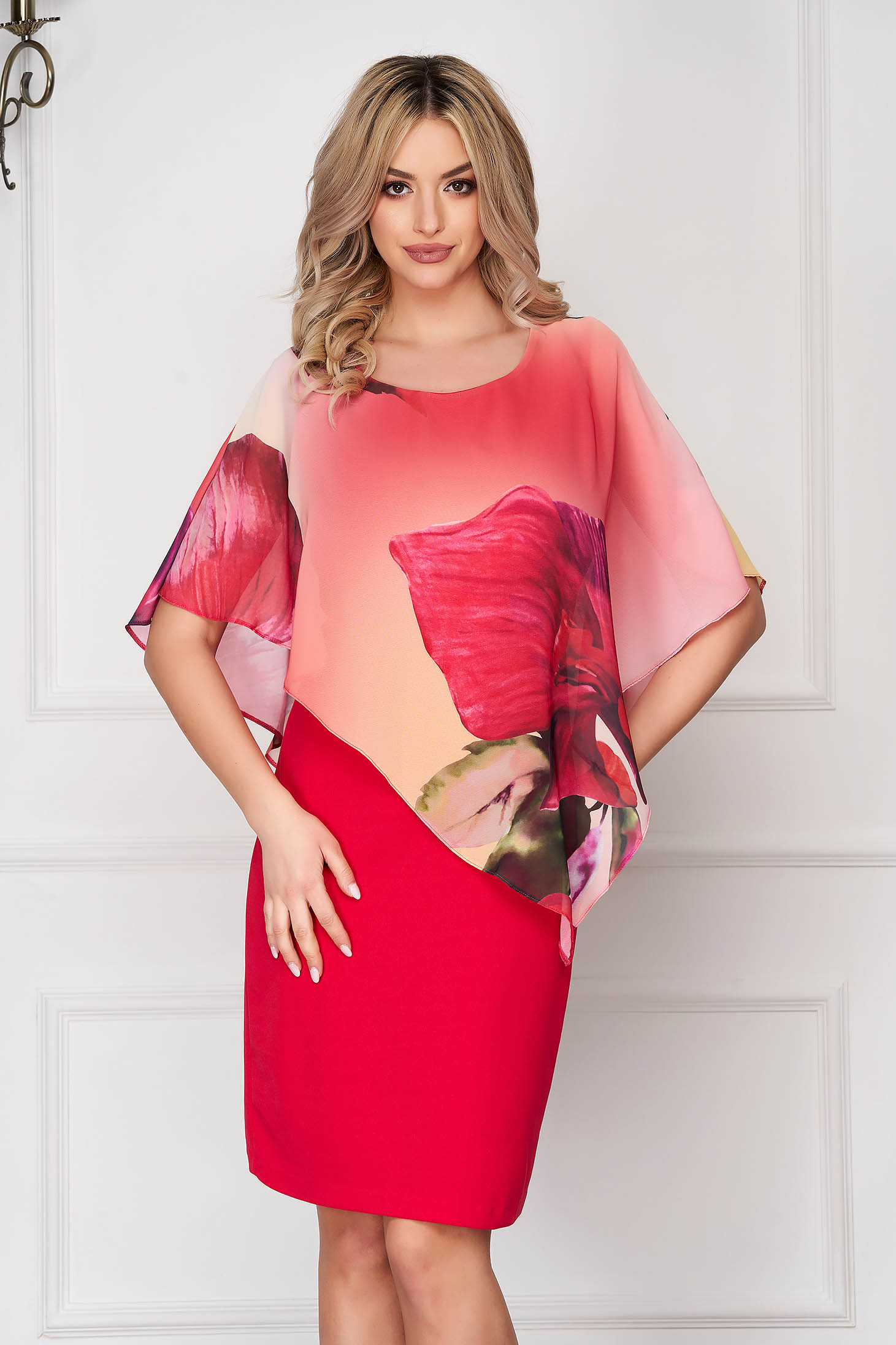 StarShinerS coral dress elegant midi pencil voile overlay cloth