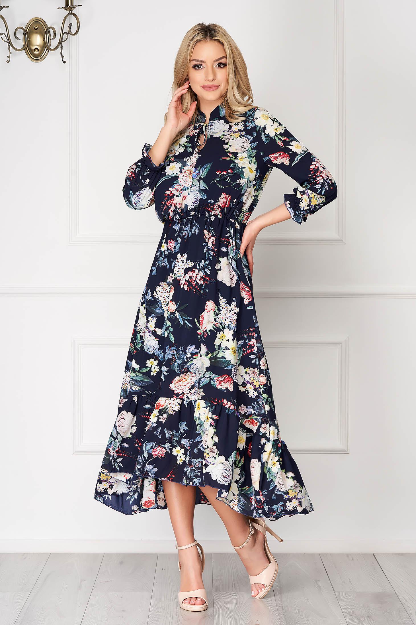 Rochie bleumarin asimetrica eleganta din voal cu imprimeuri florale cu elastic in talie