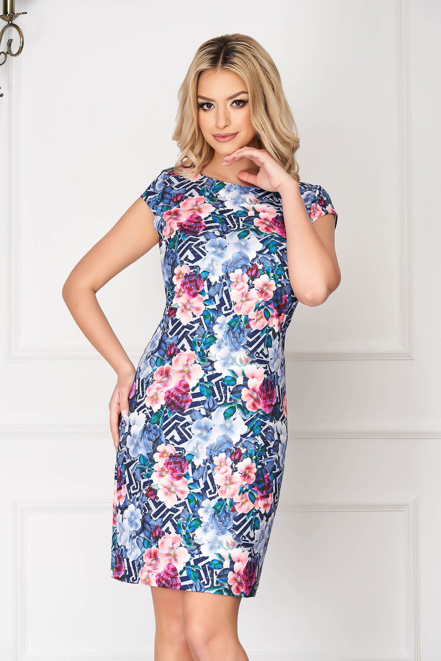 StarShinerS blue elegant short cut pencil dress short sleeves with graphic details