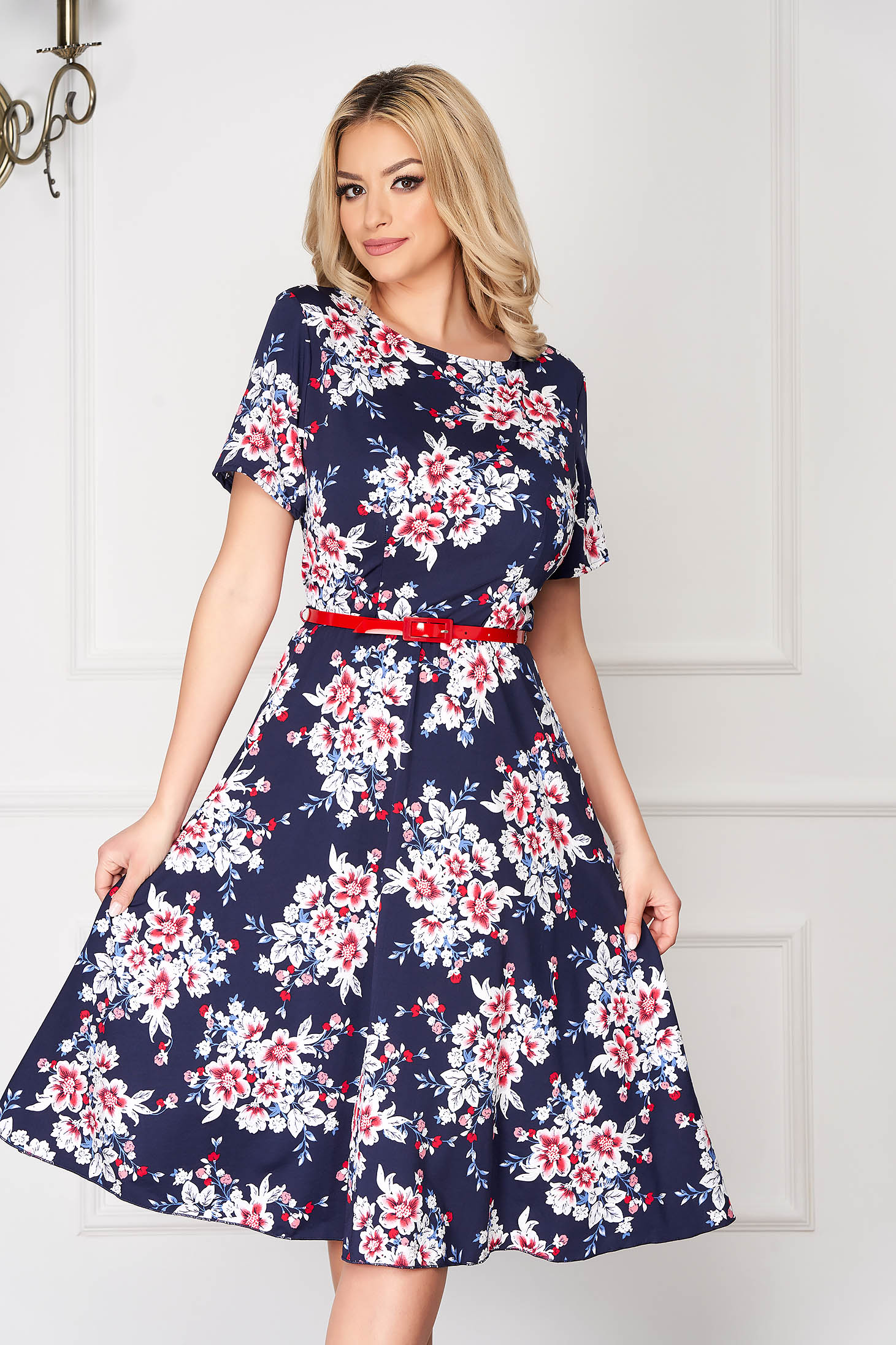 StarShinerS white dress office midi cloche short sleeves accessorized with belt