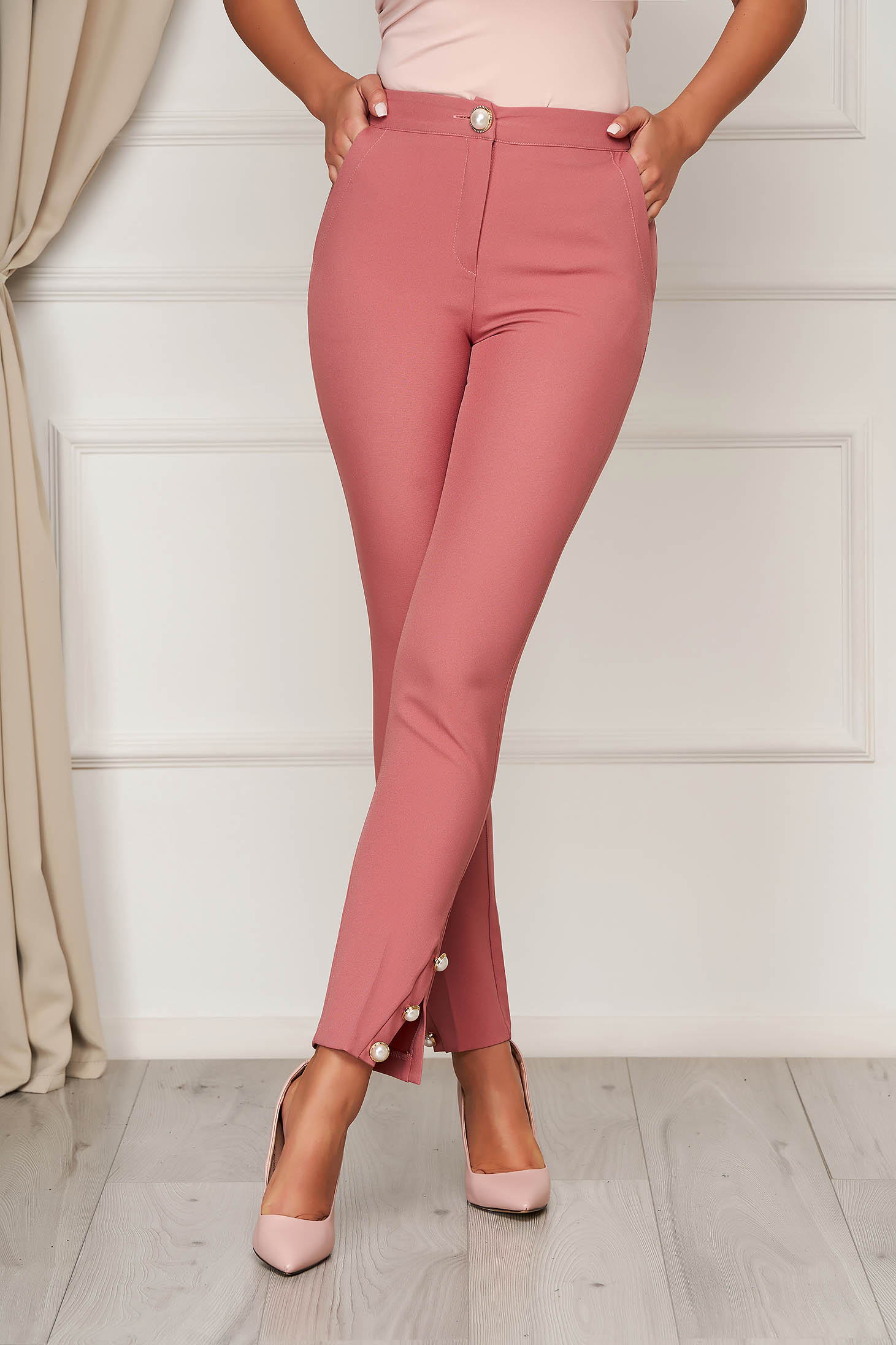Pink trousers elegant straight medium waist with pockets