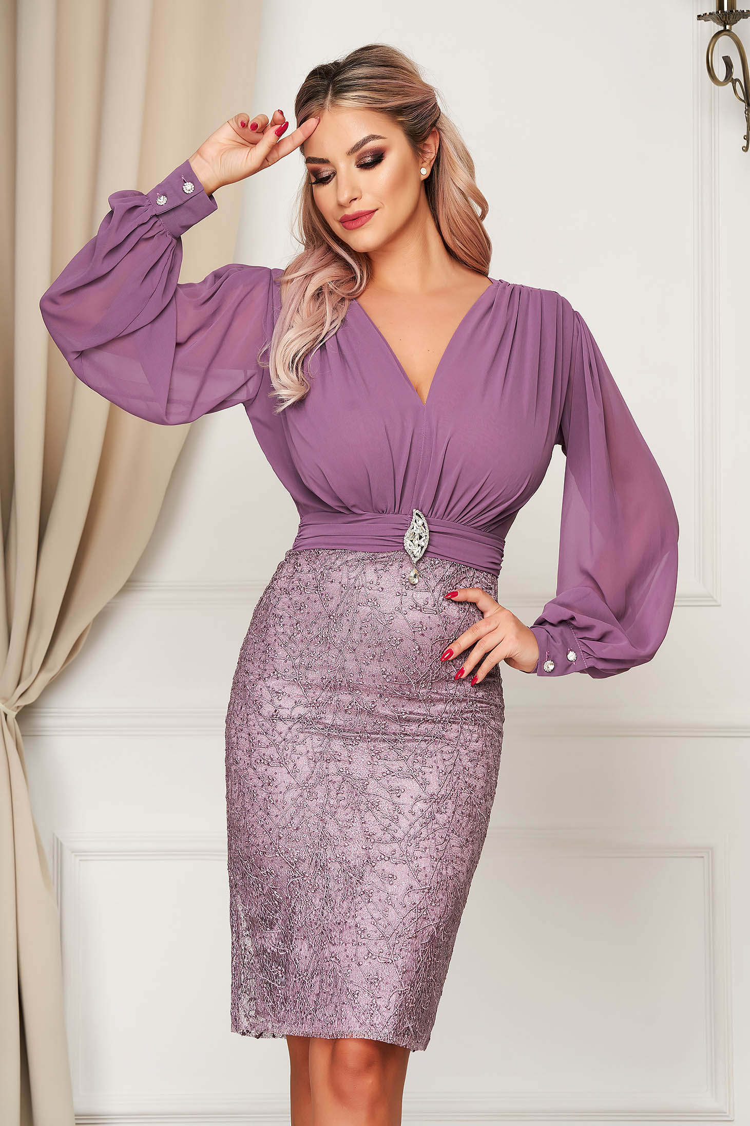 Dress purple occasional from veil fabric laced pencil midi