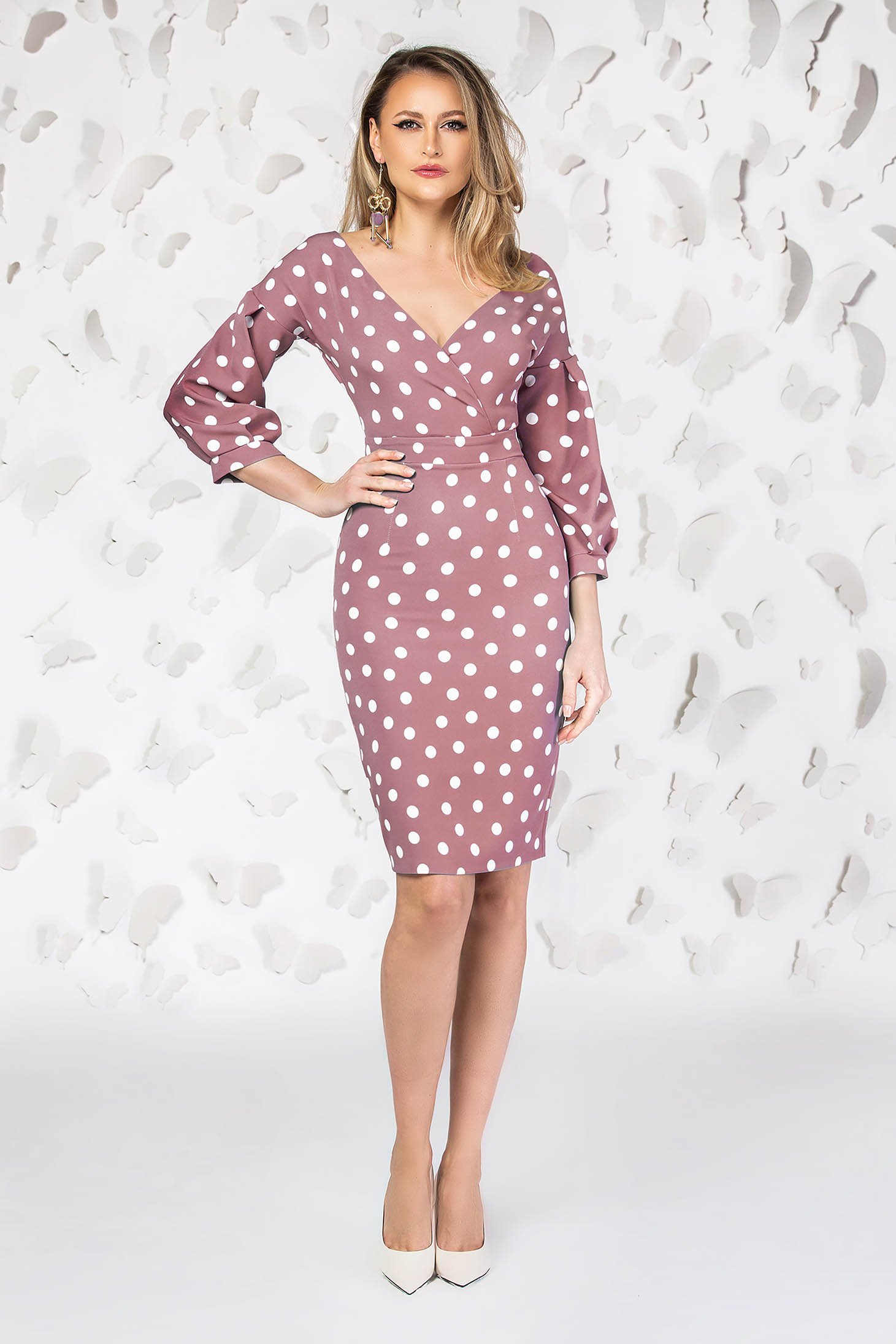 Pink dress office pencil with deep cleavage with puffed sleeves dots print
