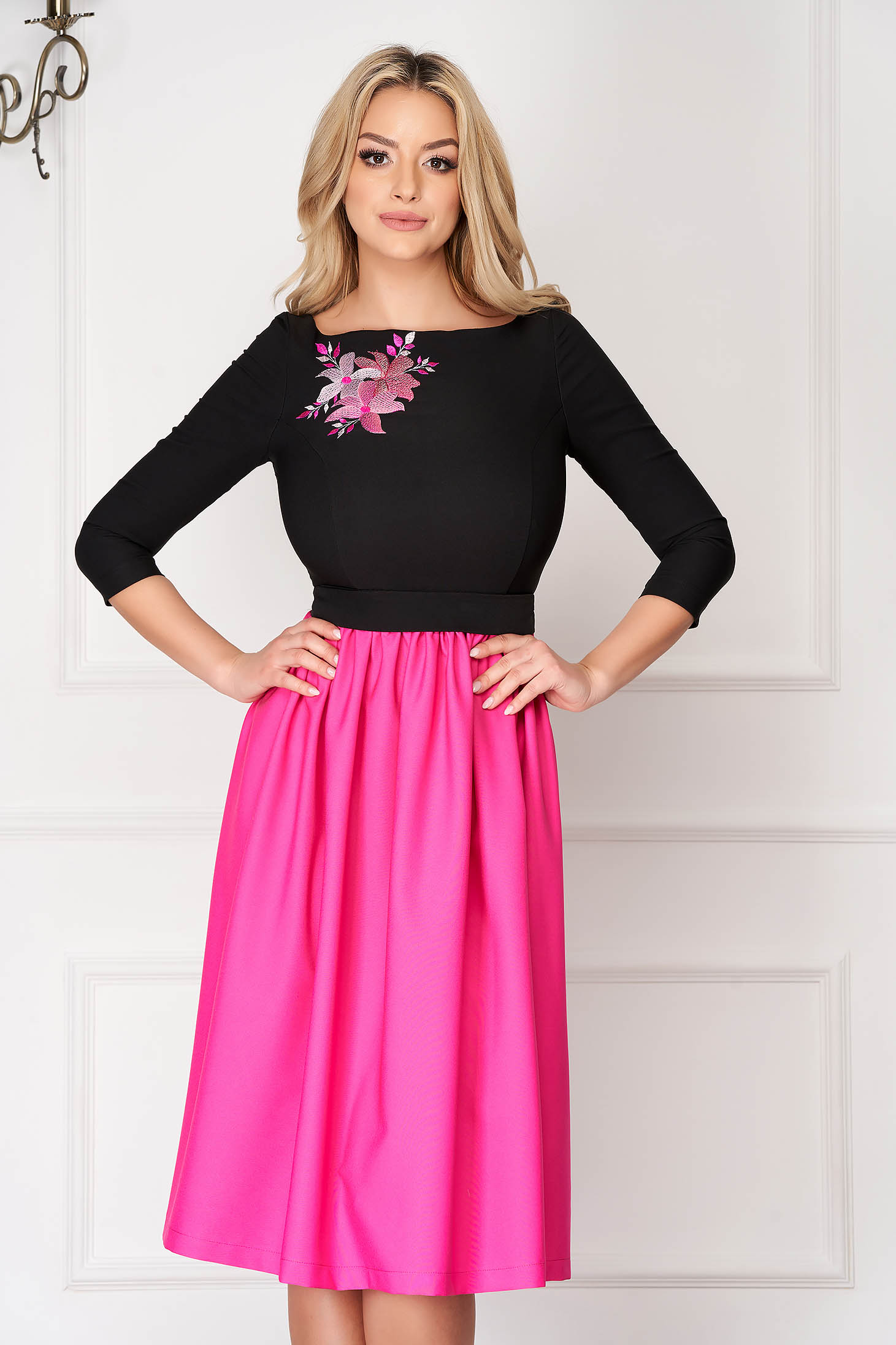 Fuchsia StarShinerS midi occasional cloche dress cloth with 3/4 sleeves