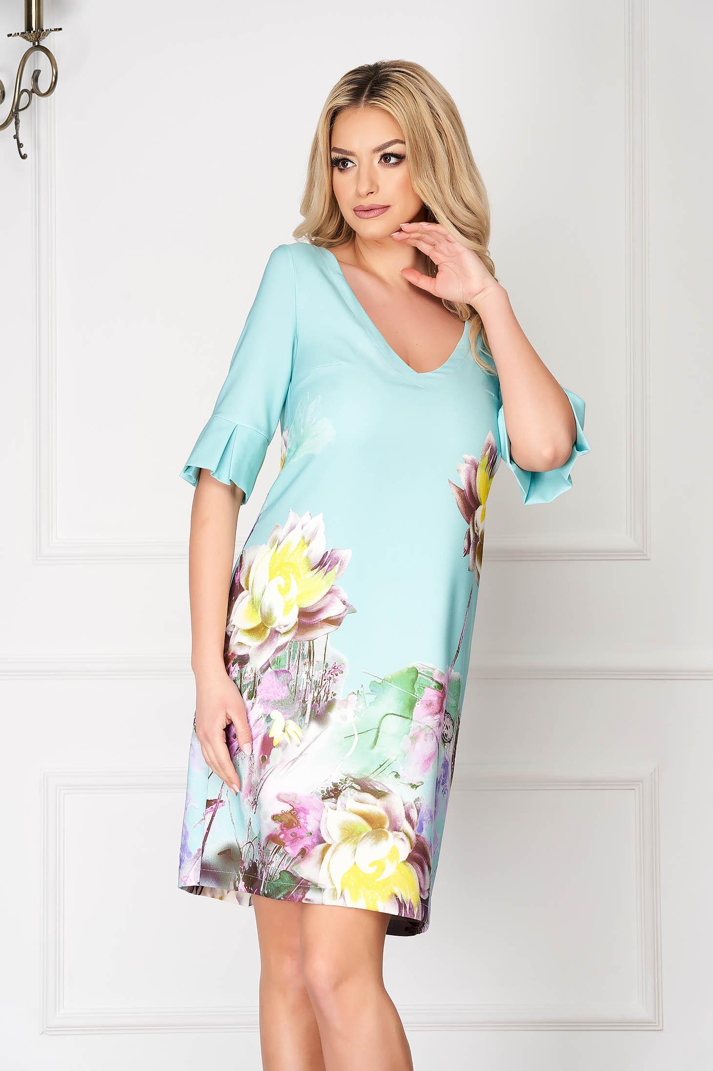 Rochie StarShinerS mint eleganta midi cu croi larg din stofa cu maneci clopot si imprimeu floral