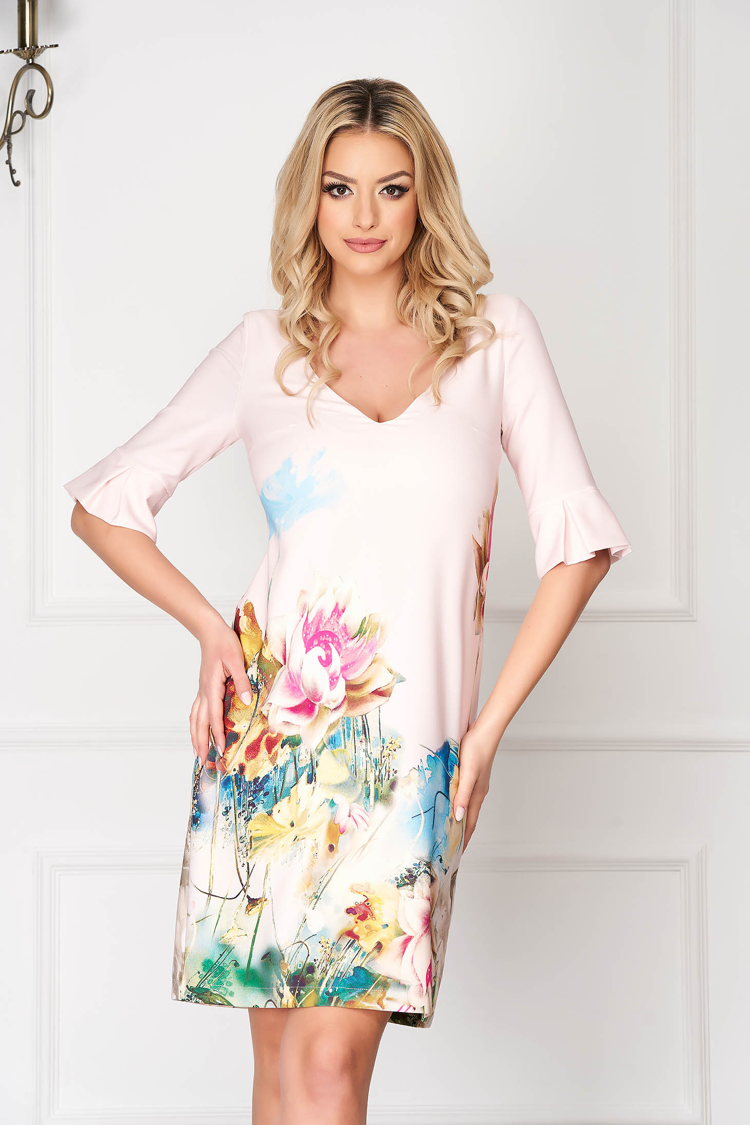 Lightpink StarShinerS elegant midi flared dress cloth bell sleeves with floral print