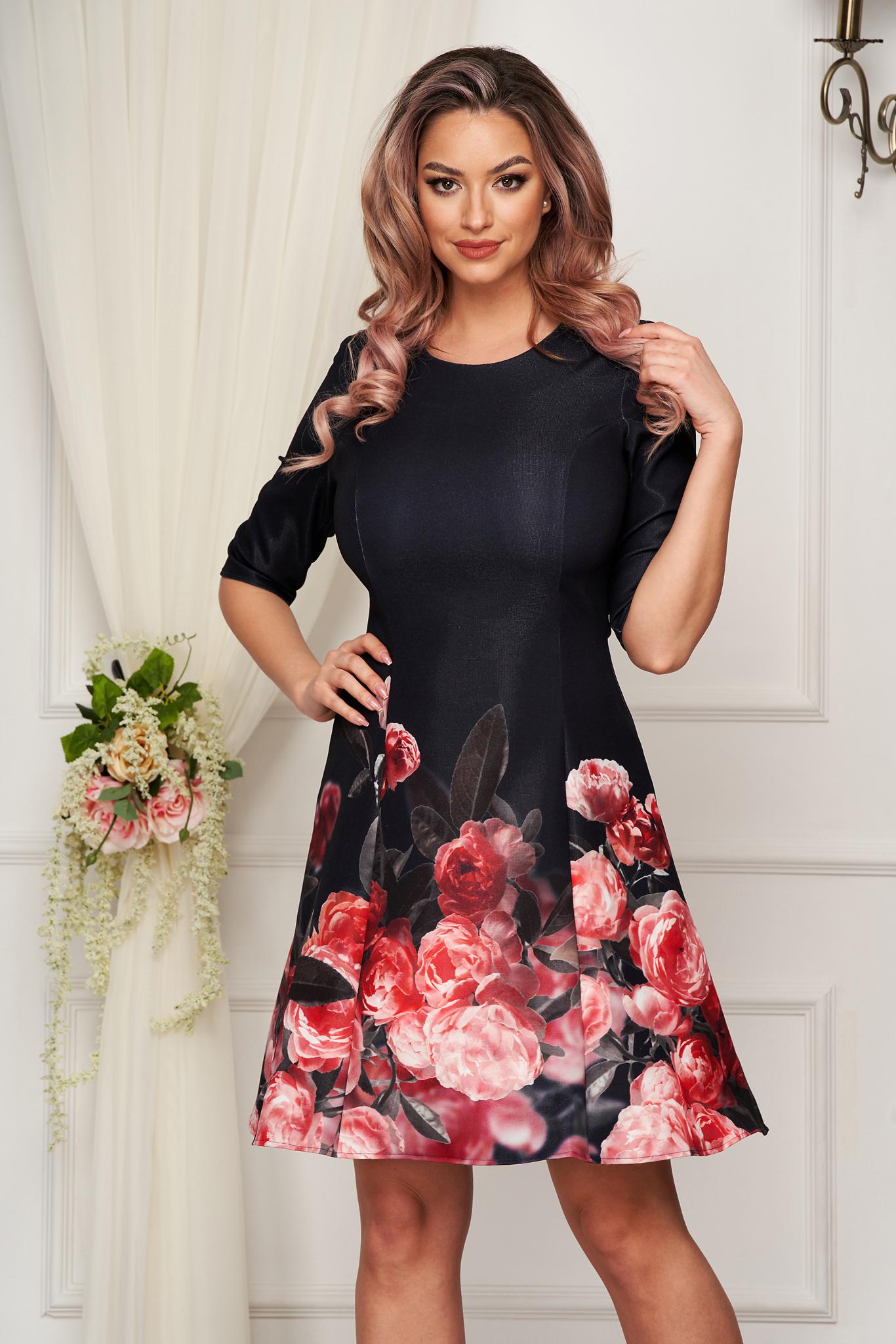 Rochie StarShinerS neagra scurta de zi in clos din stofa elastica cu imprimeu floral
