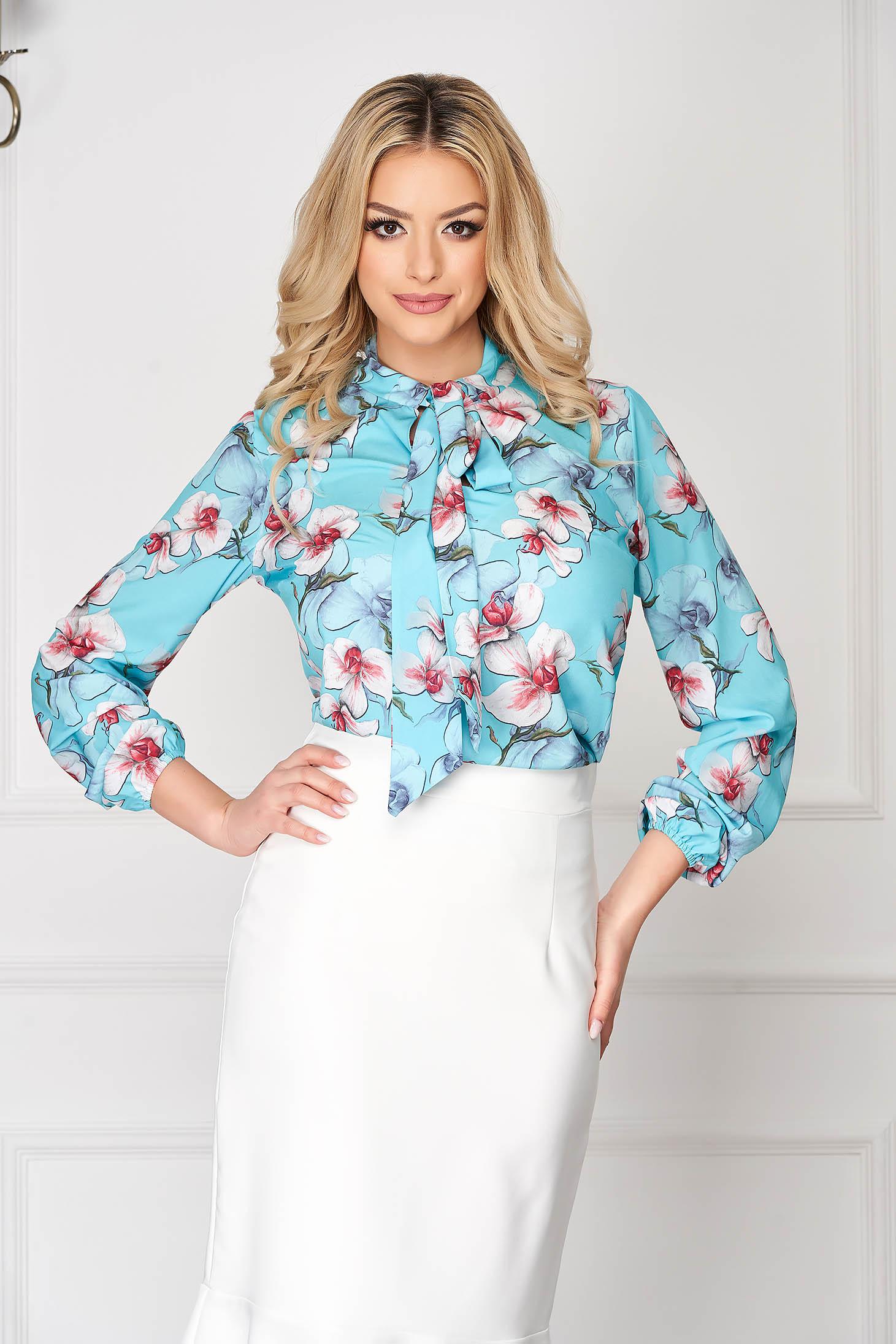 Bluza dama StarShinerS albastru-deschis eleganta scurta din voal cu imprimeu floral