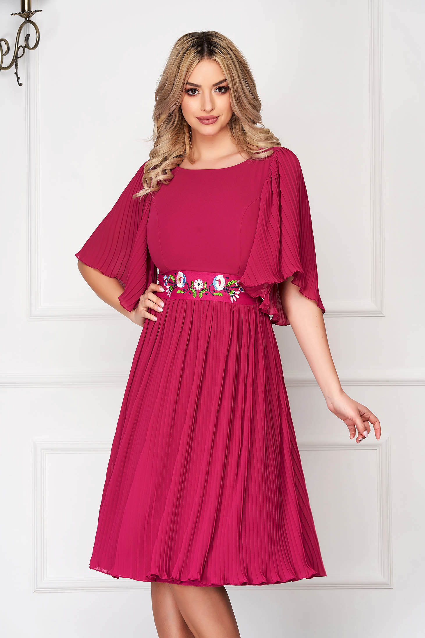 Dress StarShinerS raspberry elegant midi from veil fabric folded up detachable cord