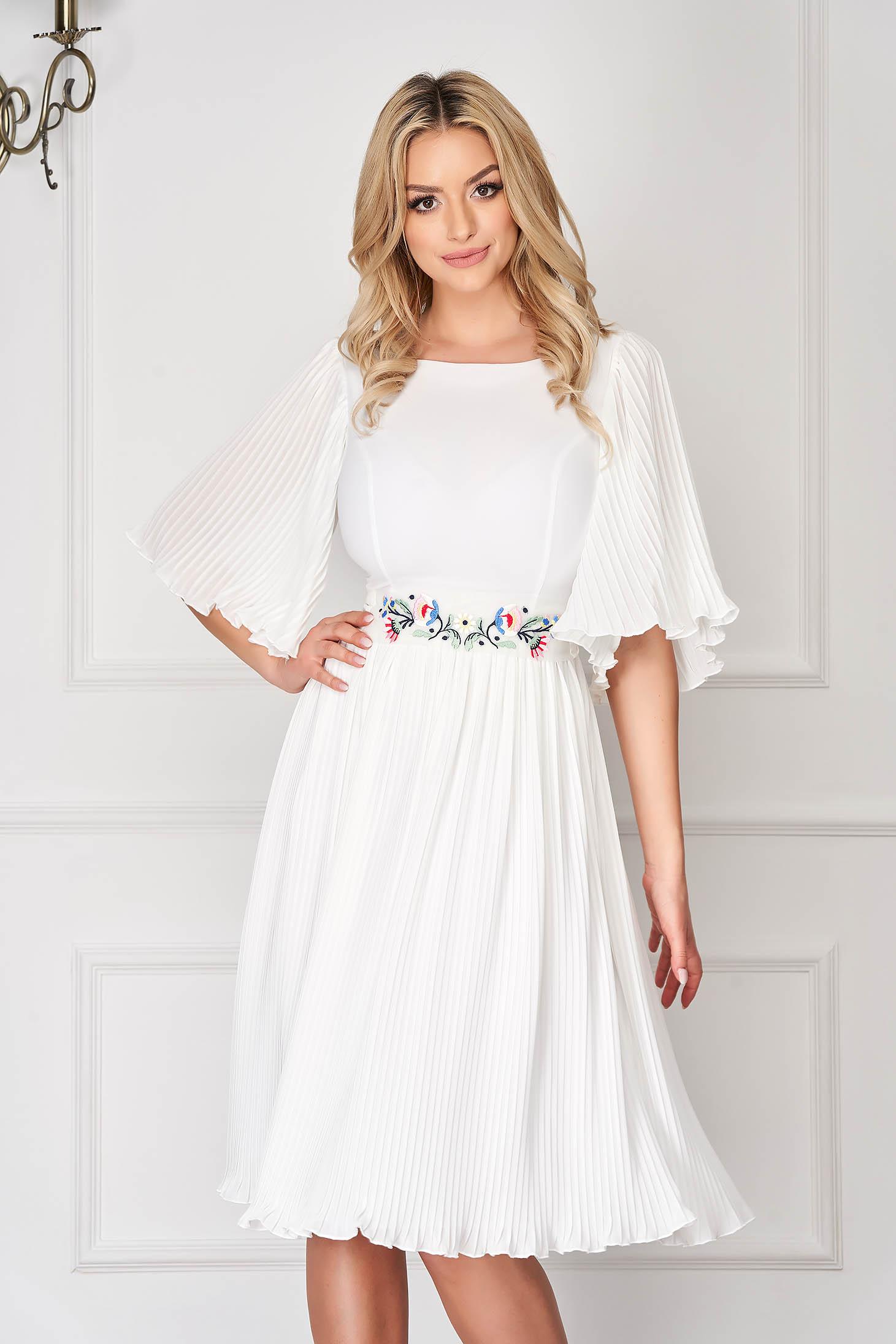 Dress StarShinerS white elegant midi from veil fabric folded up detachable cord