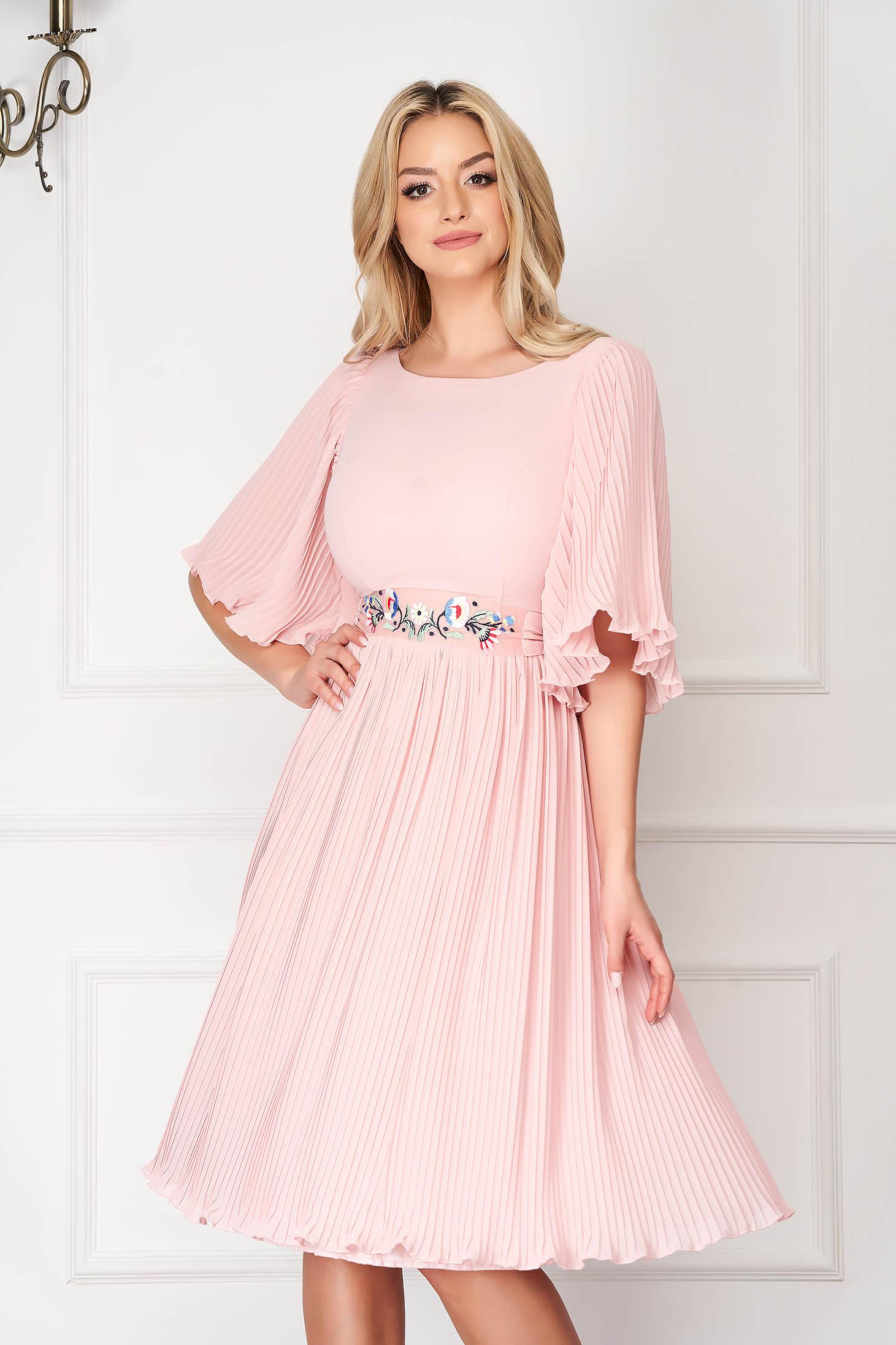 Dress StarShinerS lightpink elegant midi from veil fabric folded up detachable cord