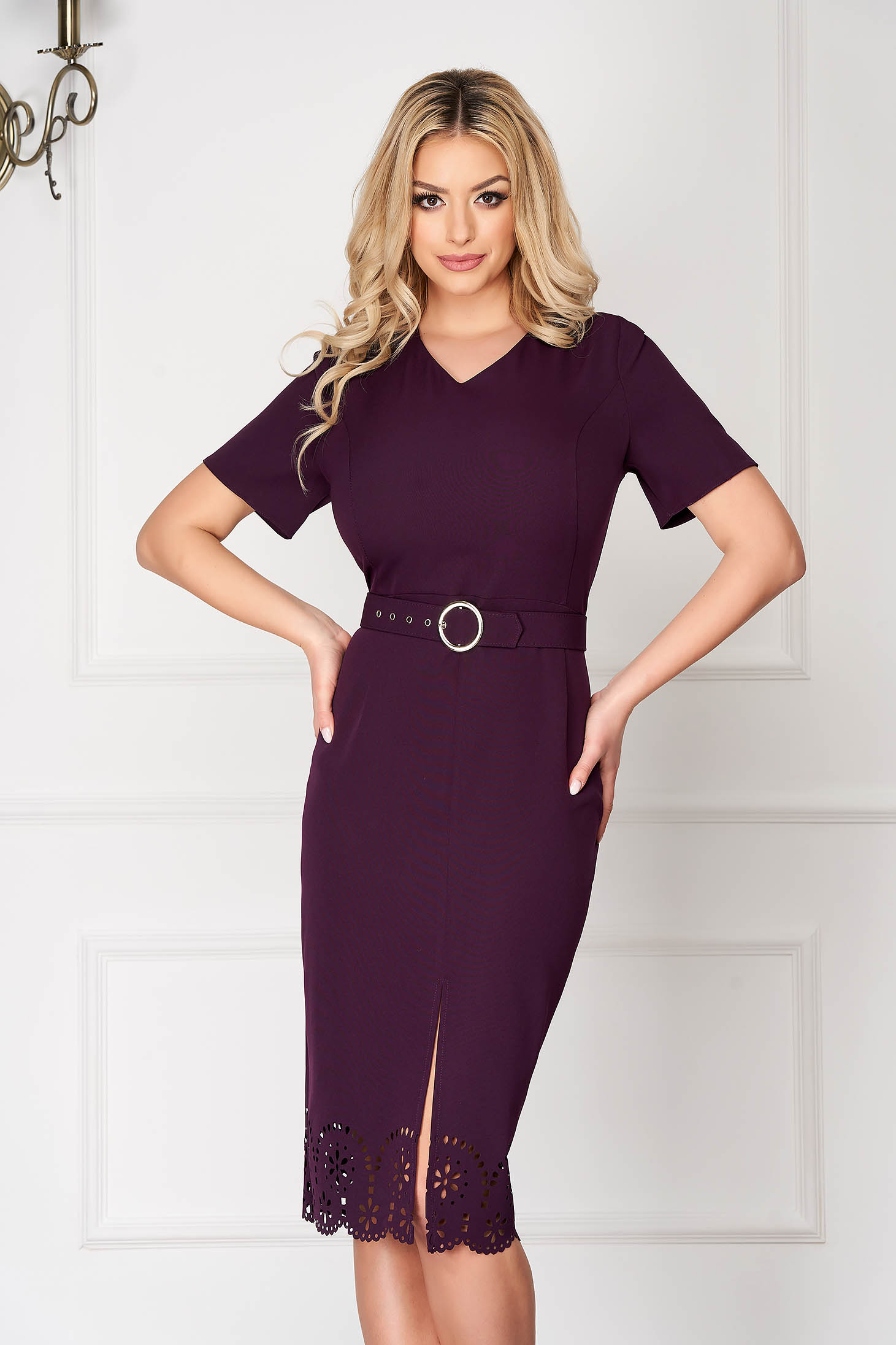 Purple office midi pencil dress with v-neckline frontal slit