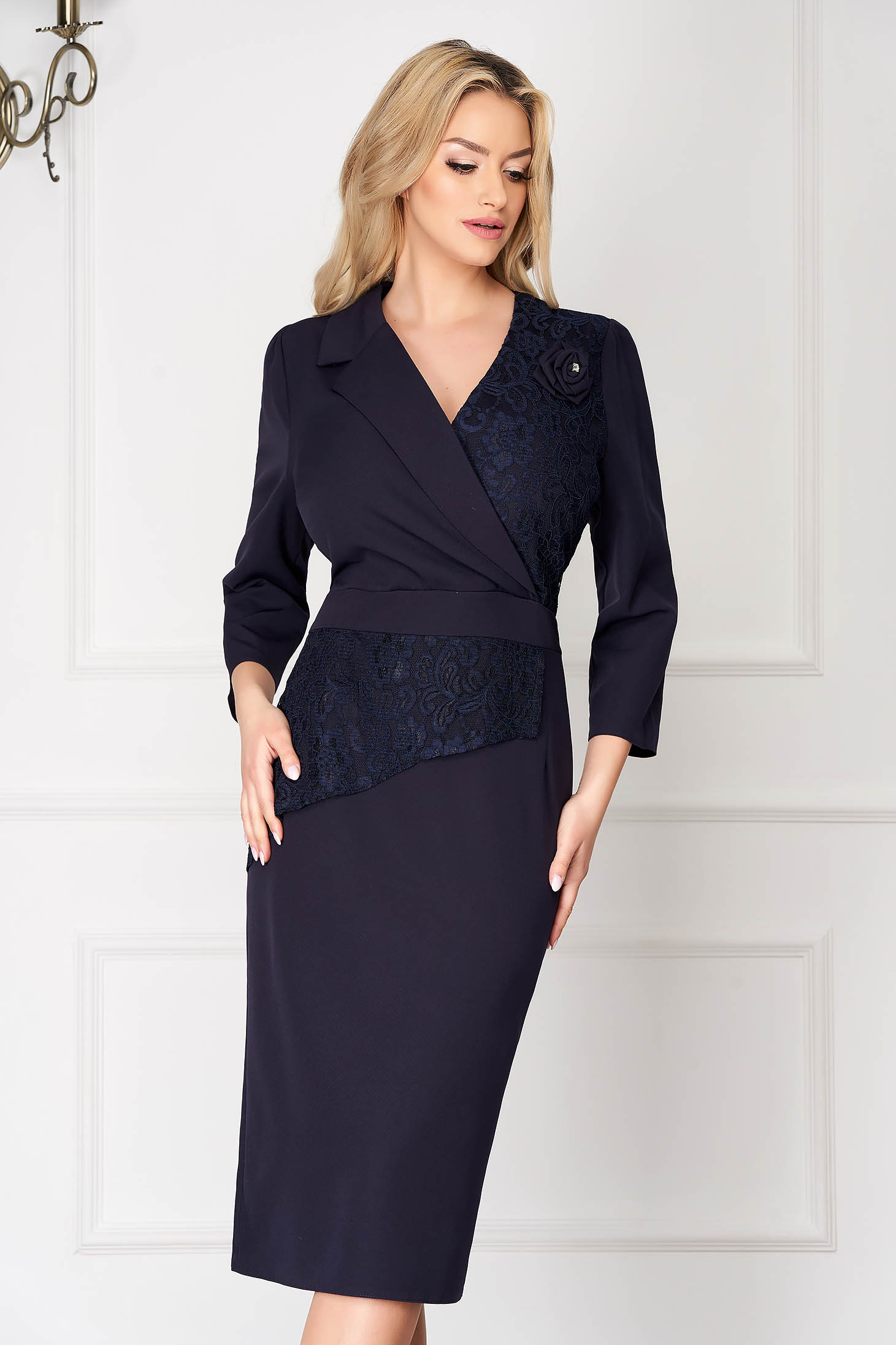 Darkblue office midi pencil dress with lace details wrap over front