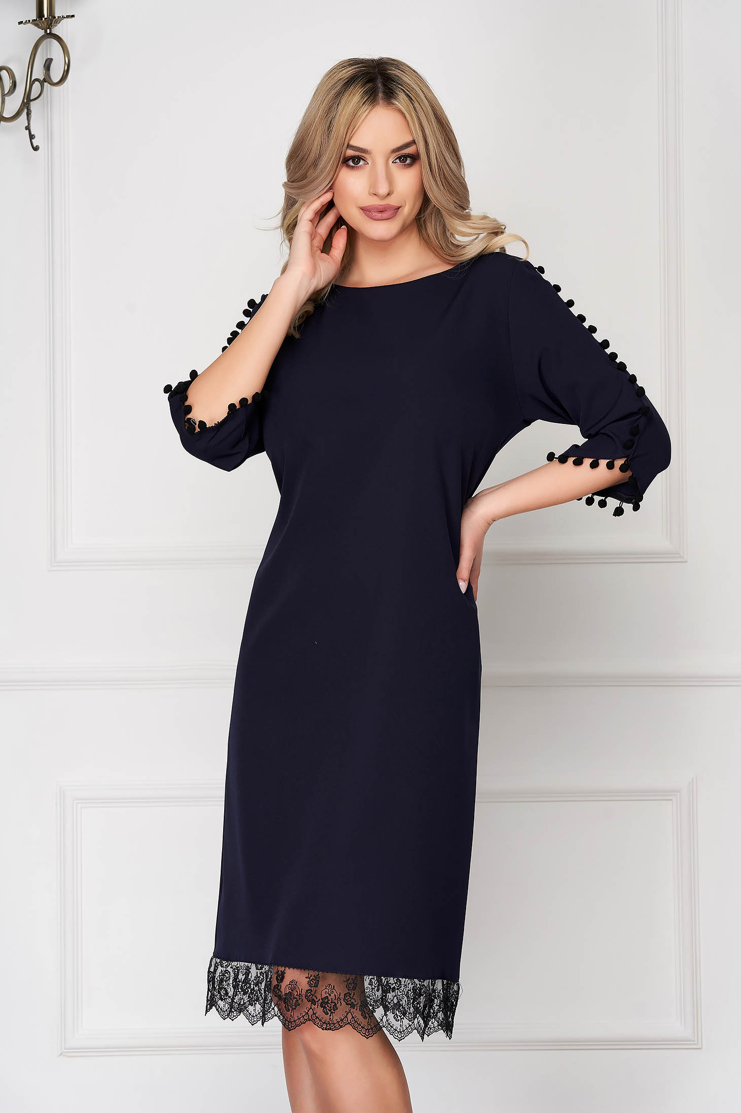 Darkblue dress elegant midi straight cloth with tassels with lace details