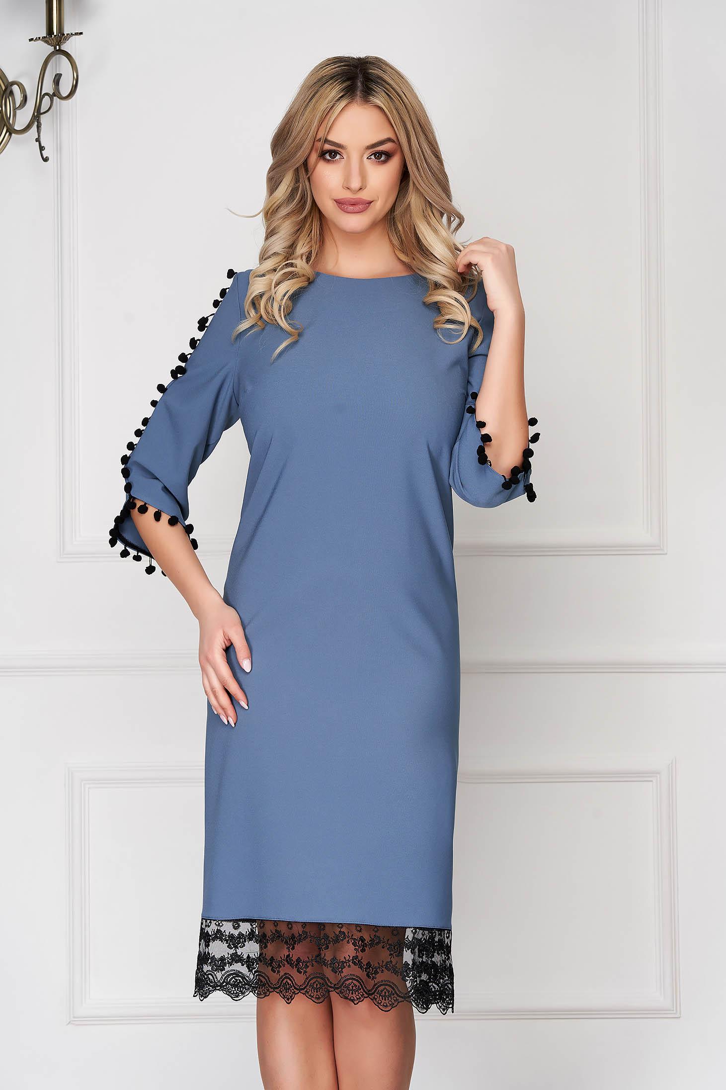 Lightblue dress elegant midi straight cloth with tassels with lace details