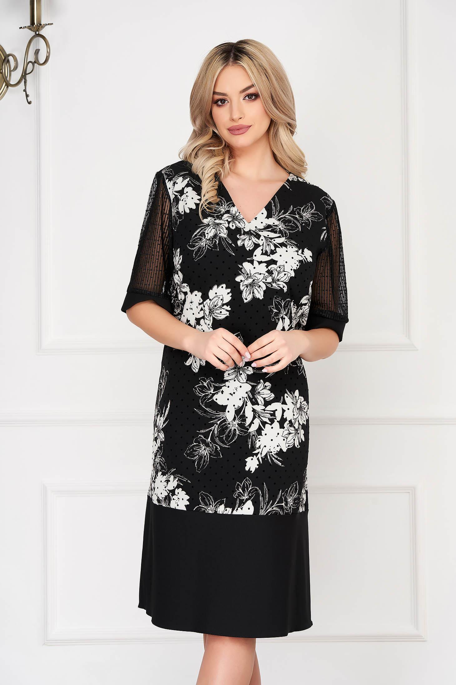 Rochie neagra eleganta midi cu un croi drept cu maneci din voal si aplicatii din plumeti