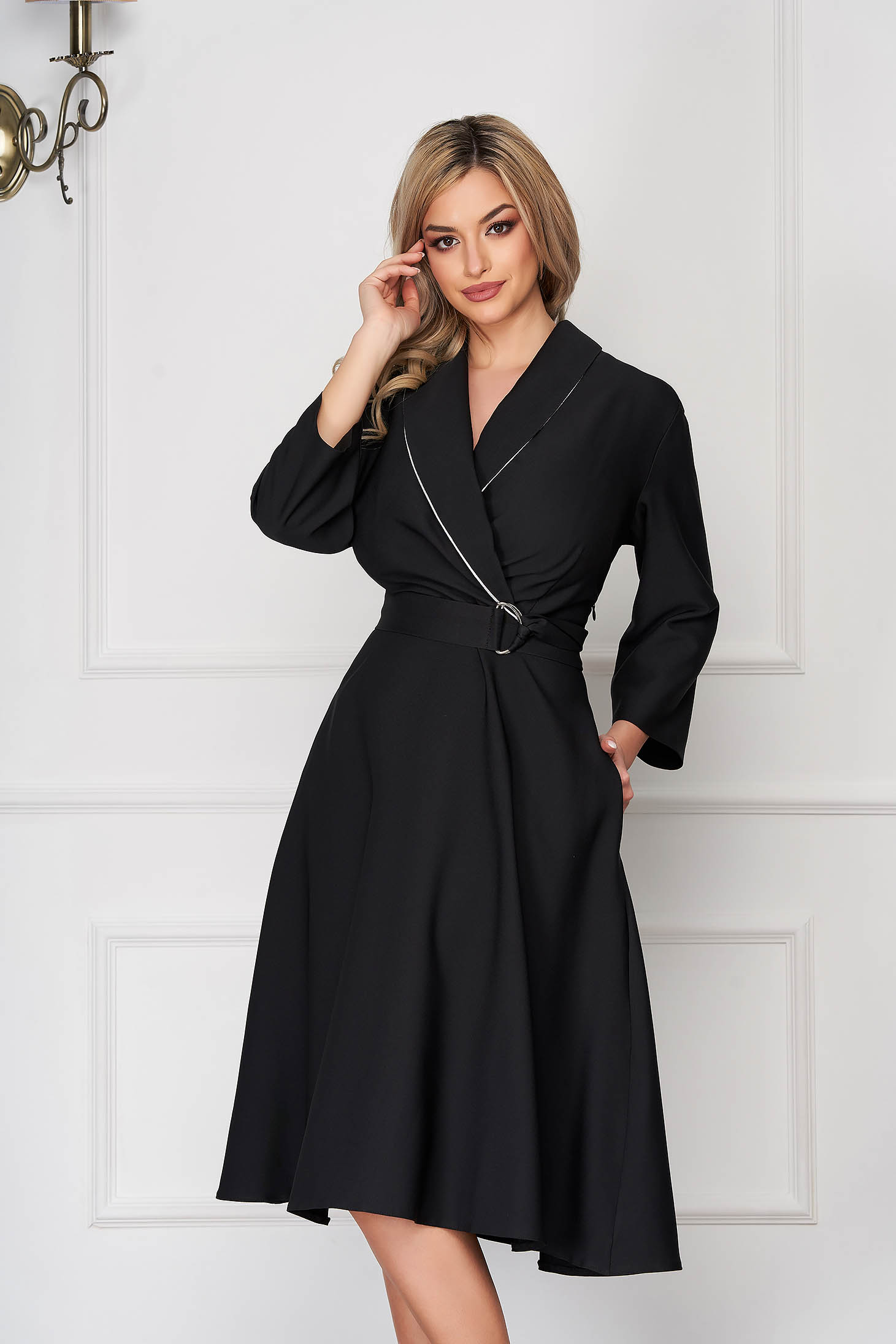 Black office cloche dress with pockets long sleeved