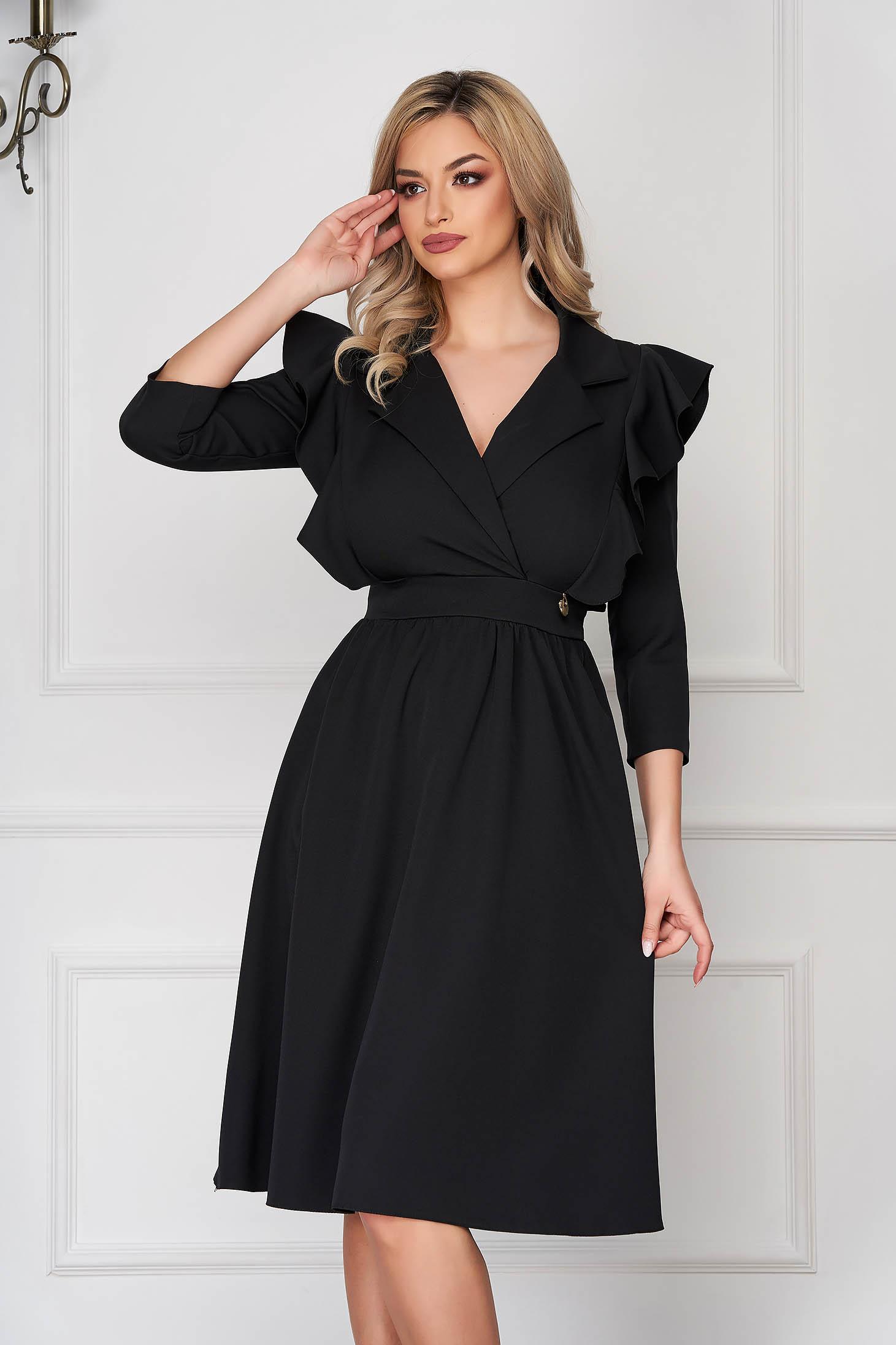 Black dress elegant midi cloche cloth thin fabric with ruffled sleeves