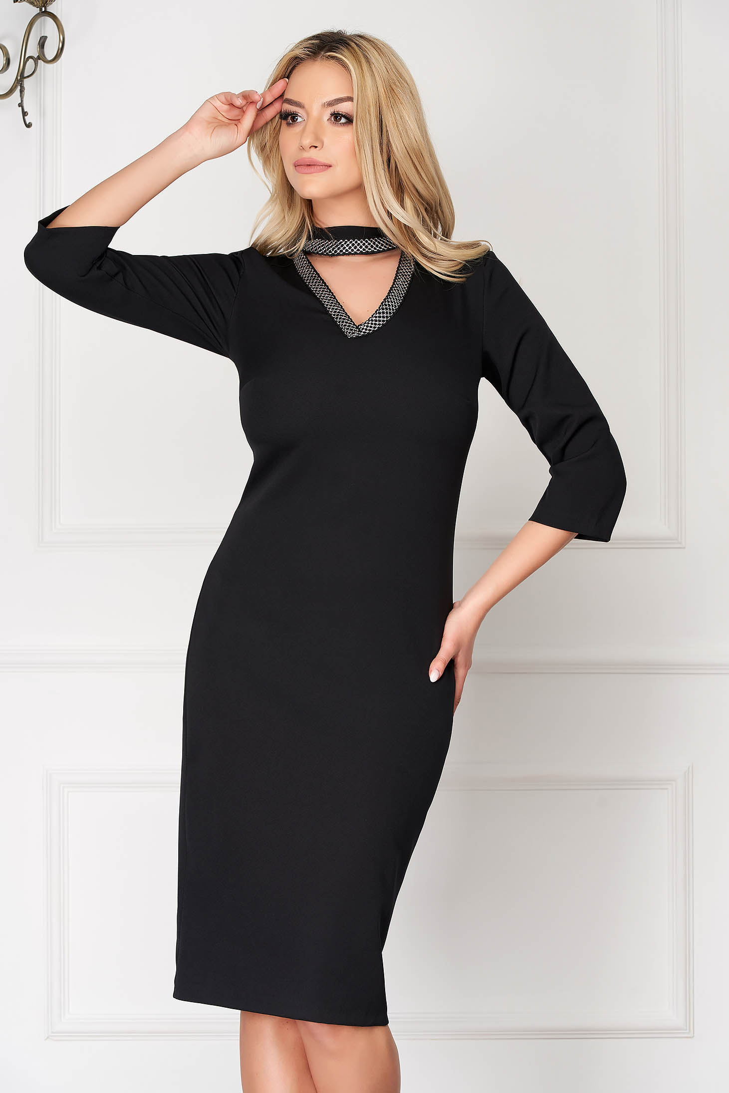 Black elegant midi pencil dress cut-out bust design with 3/4 sleeves