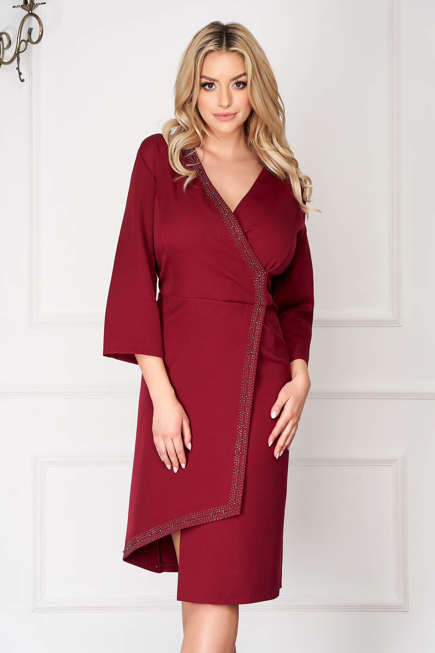 Burgundy elegant asymmetrical midi pencil dress with 3/4 sleeves