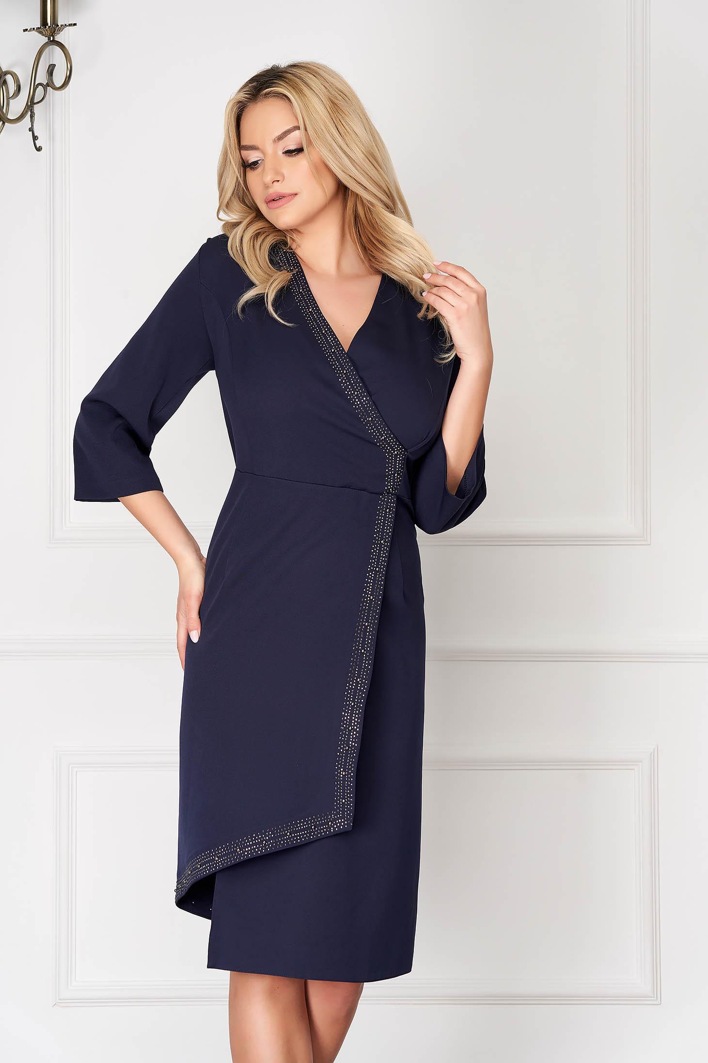 Blue elegant asymmetrical midi pencil dress with 3/4 sleeves