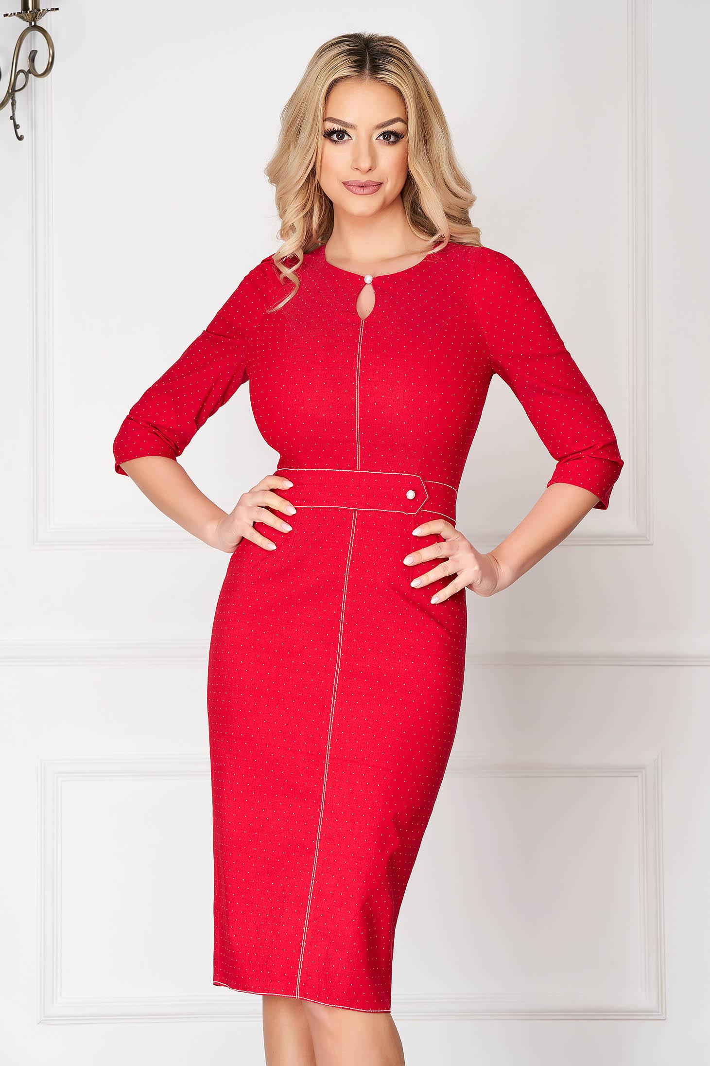 Rochie rosie eleganta midi tip creion cu maneci bufante cu accesoriu tip curea se inchide cu un nasture