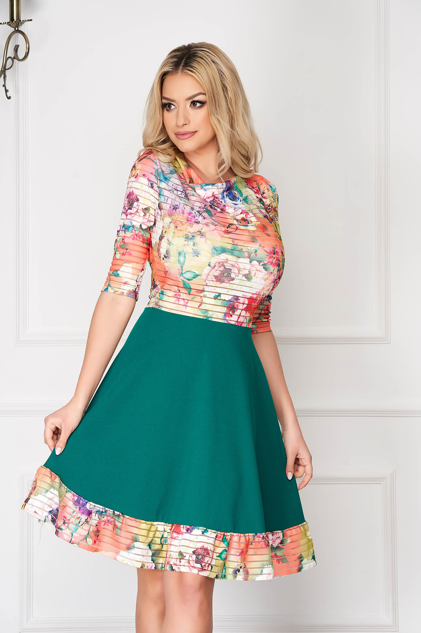 StarShinerS green elegant midi cloche dress from elastic fabric with 3/4 sleeves