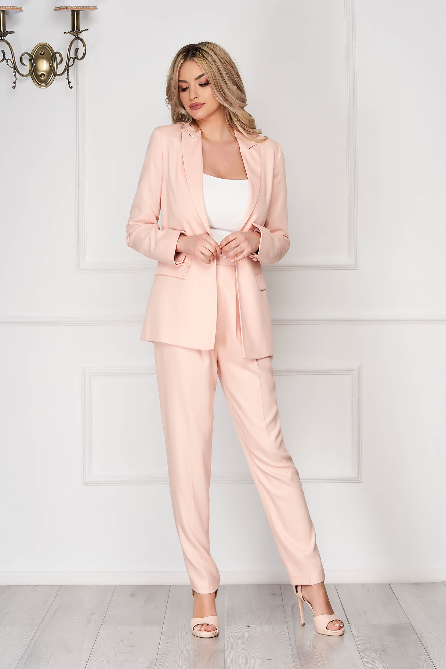 StarShinerS lightpink lady set with trousers office 2 pieces with pockets high waisted