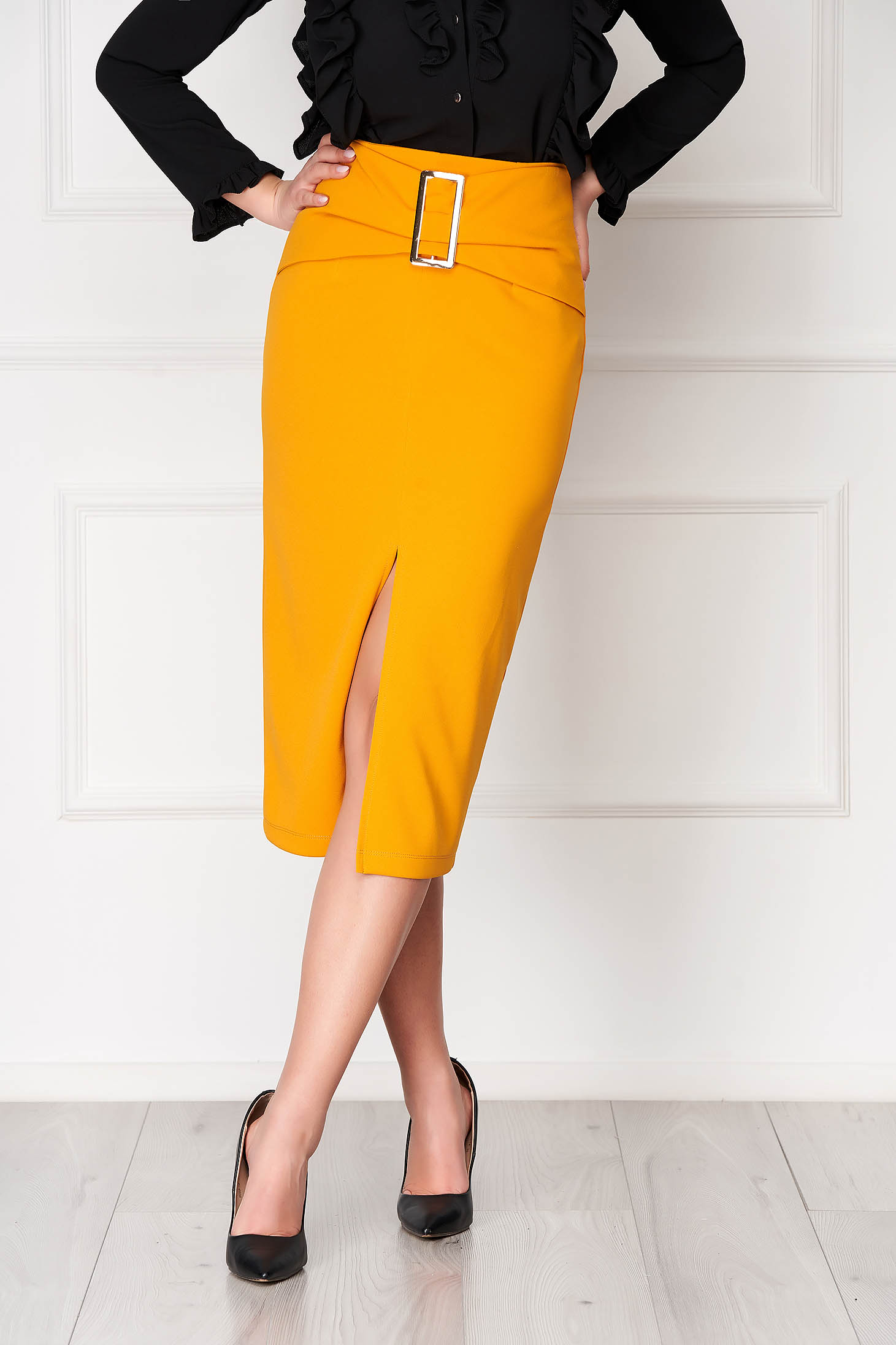 StarShinerS yellow office high waisted midi pencil skirt buckle accessory slit