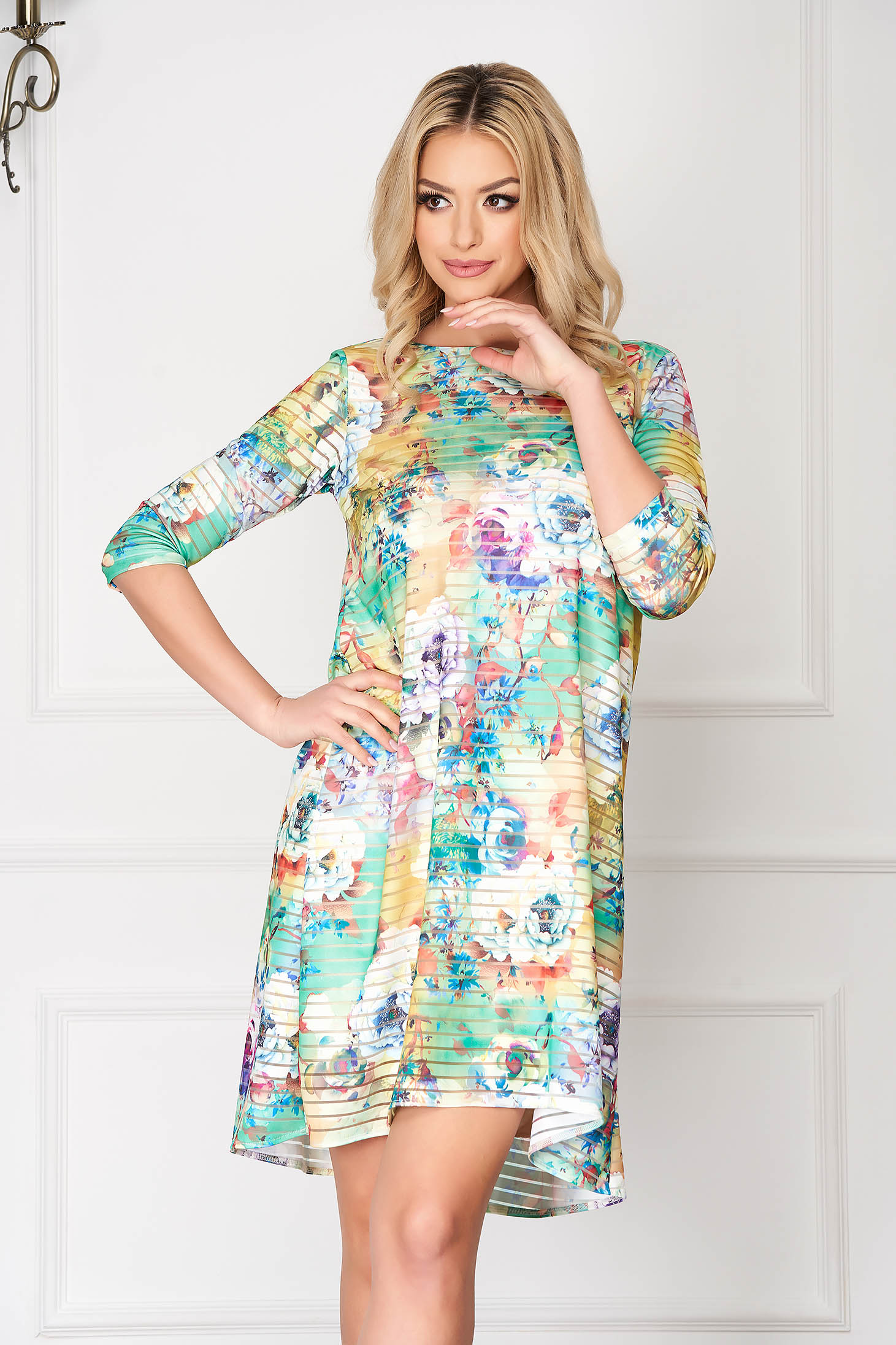 Dress StarShinerS green elegant midi lycra flared with floral print