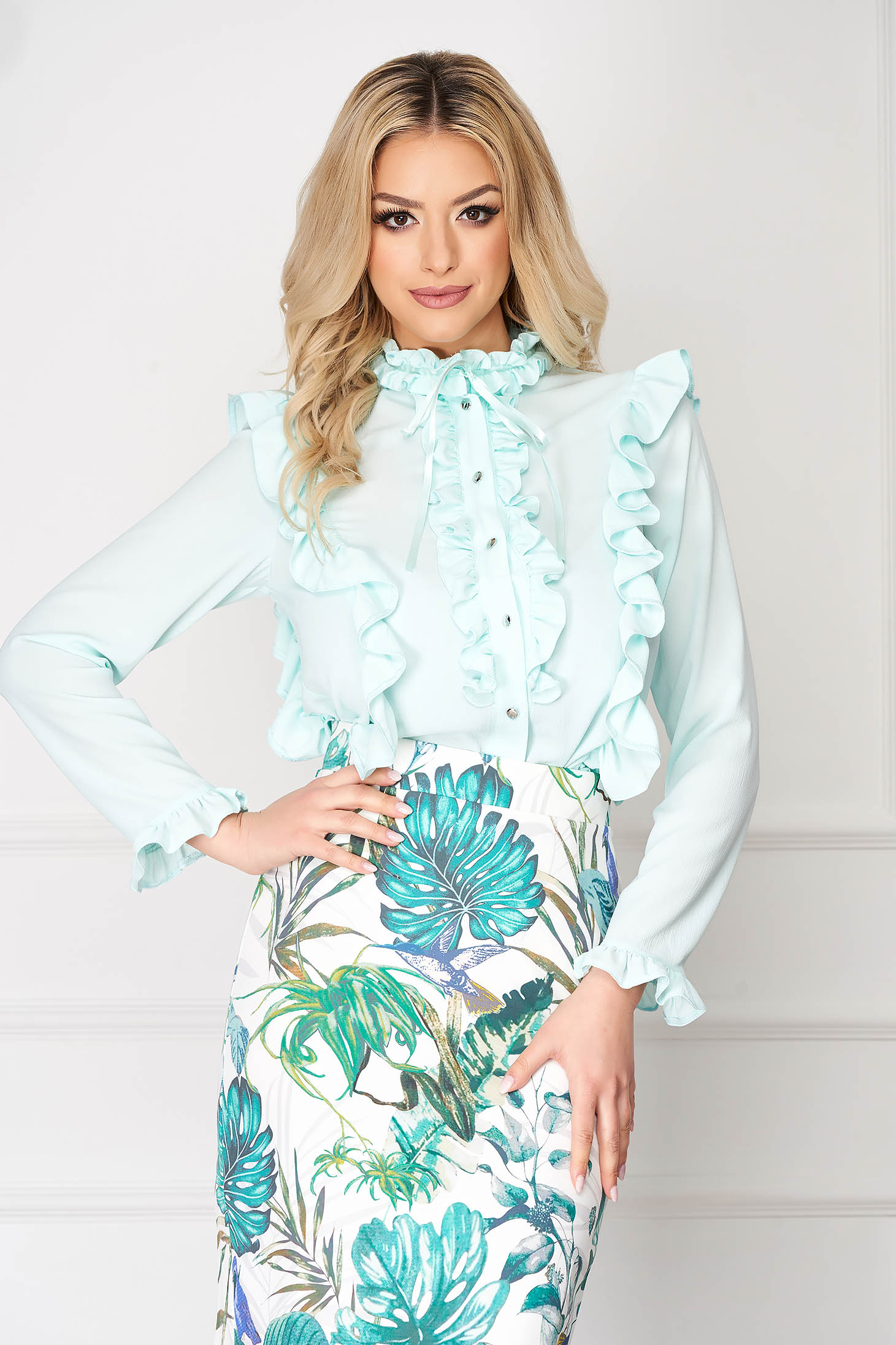 StarShinerS mint office tented short cut women`s shirt with button accessories with ruffle details long sleeved