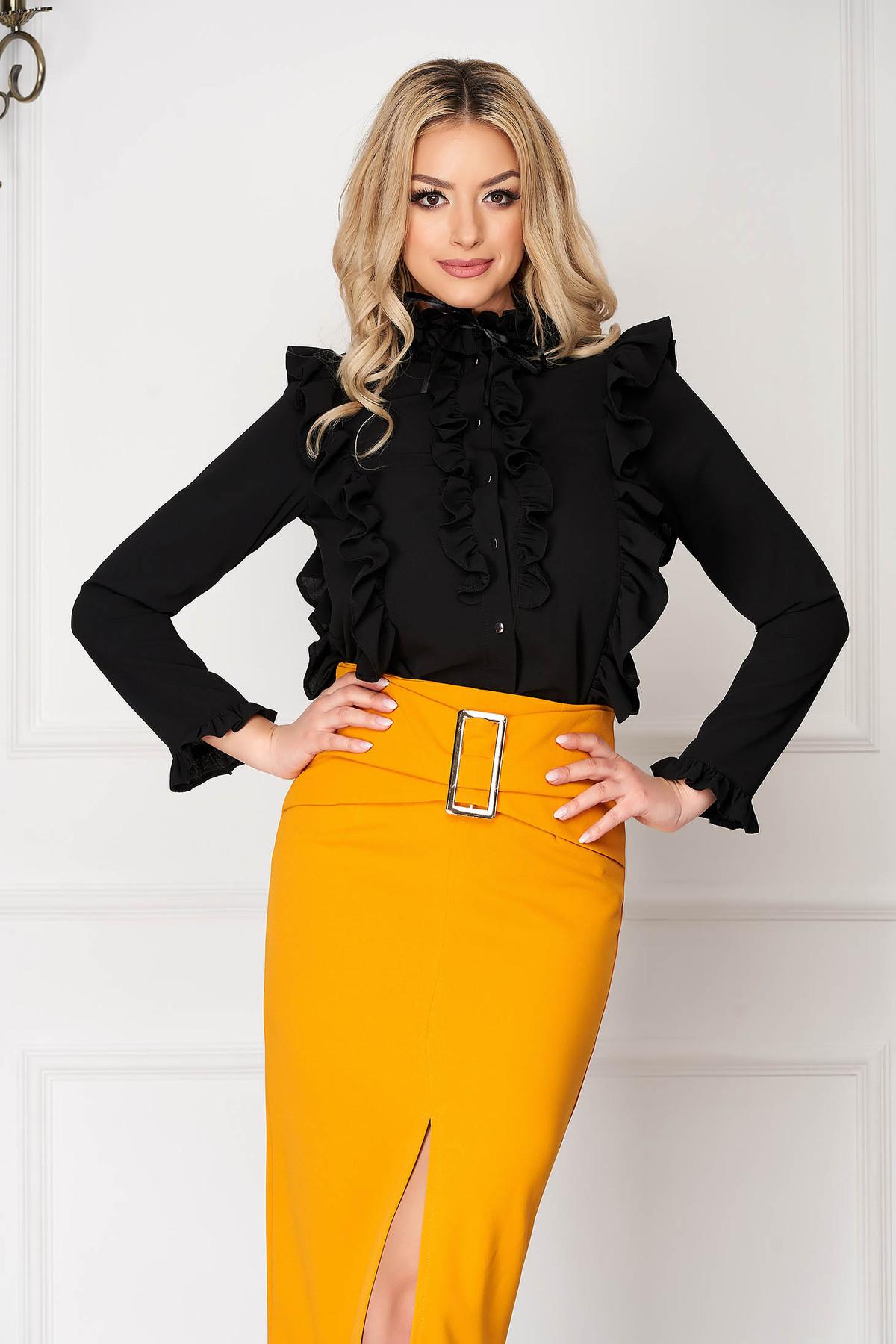Camasa dama StarShinerS neagra office scurta mulata cu volanase accesorizata cu nasturi cu guler cu maneci lungi