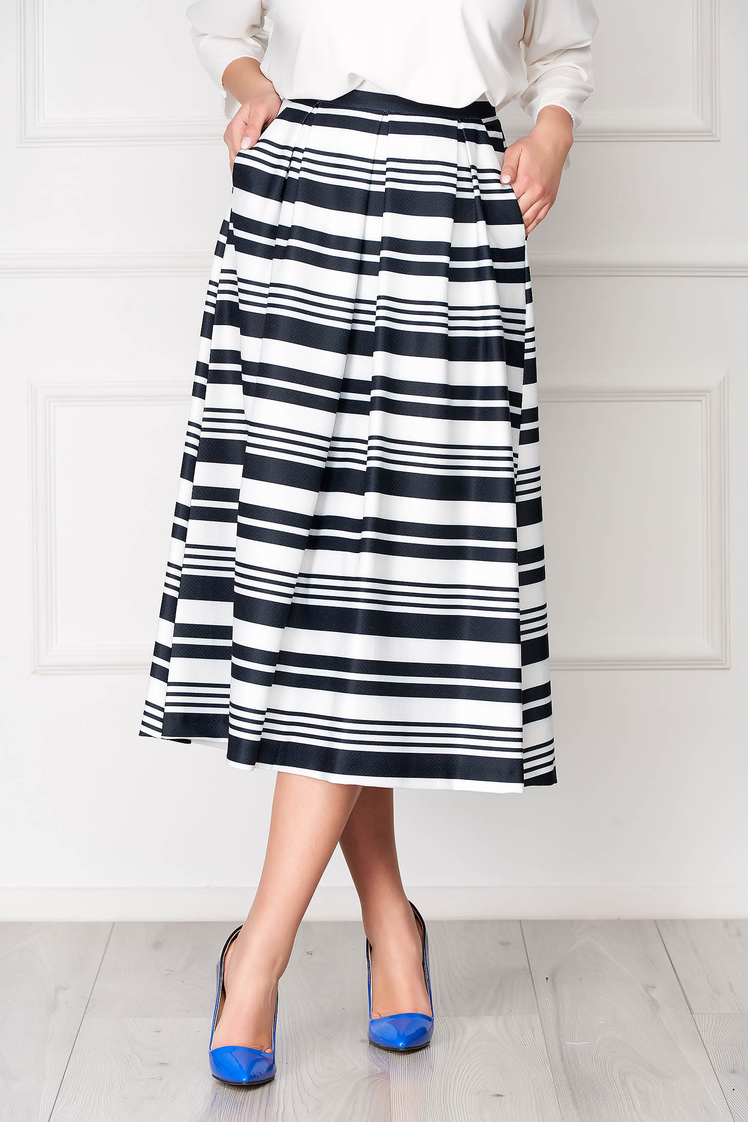 StarShinerS darkblue skirt office midi cloche with pockets with stripes