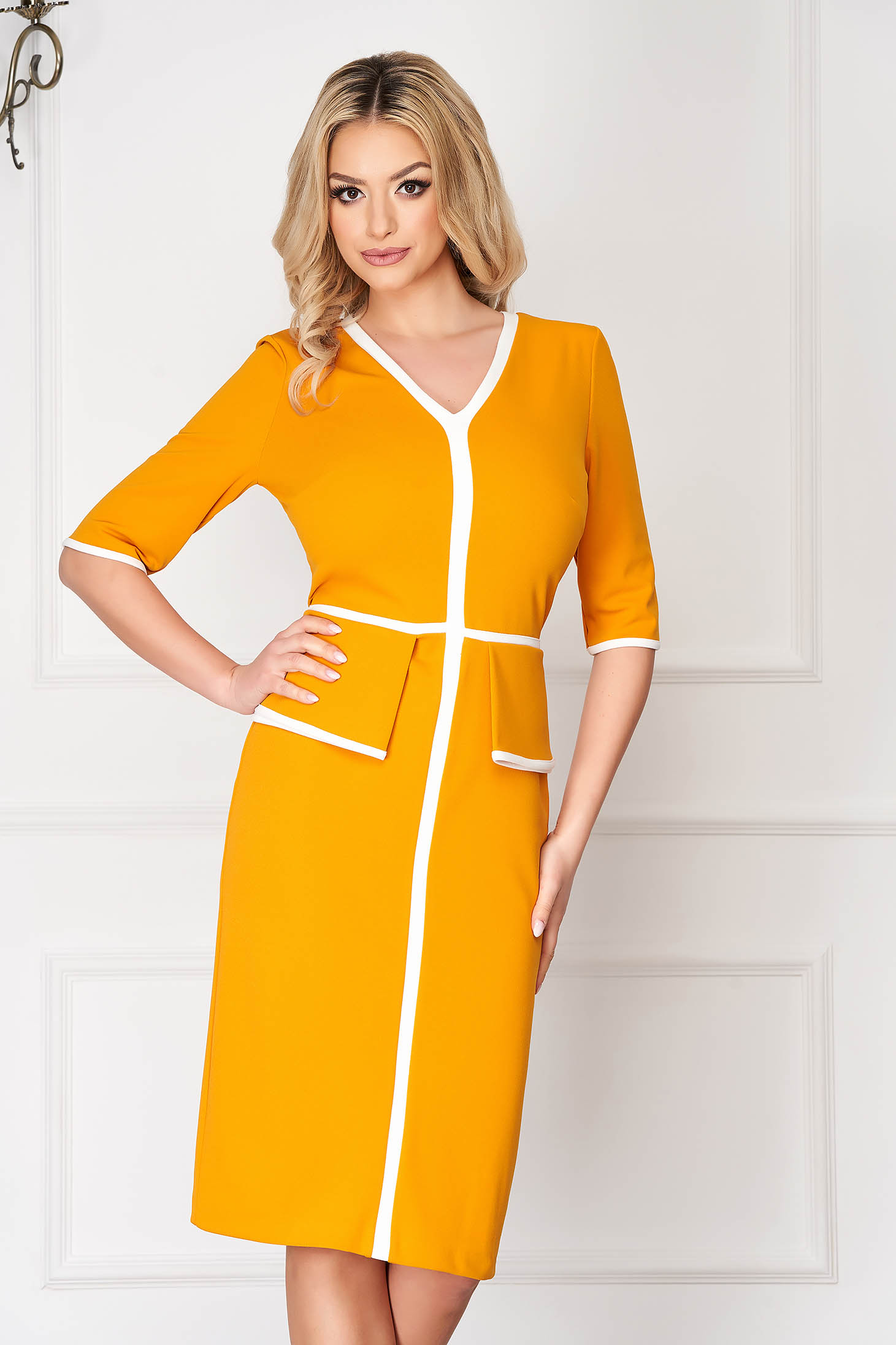 StarShinerS yellow office midi pencil dress with 3/4 sleeves